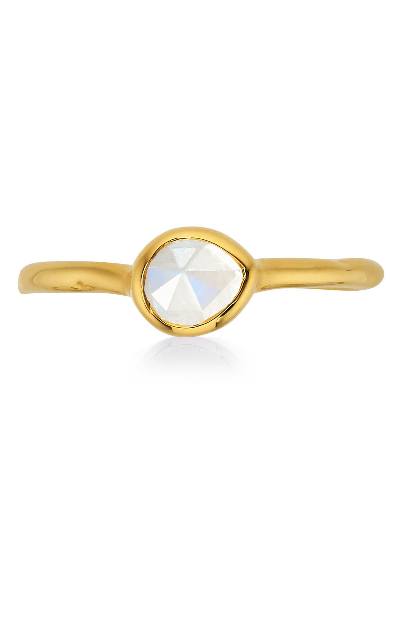 MONICA VINADER, Siren Small Semiprecious Stone Stacking Ring, Alternate thumbnail 4, color, GOLD/ MOONSTONE