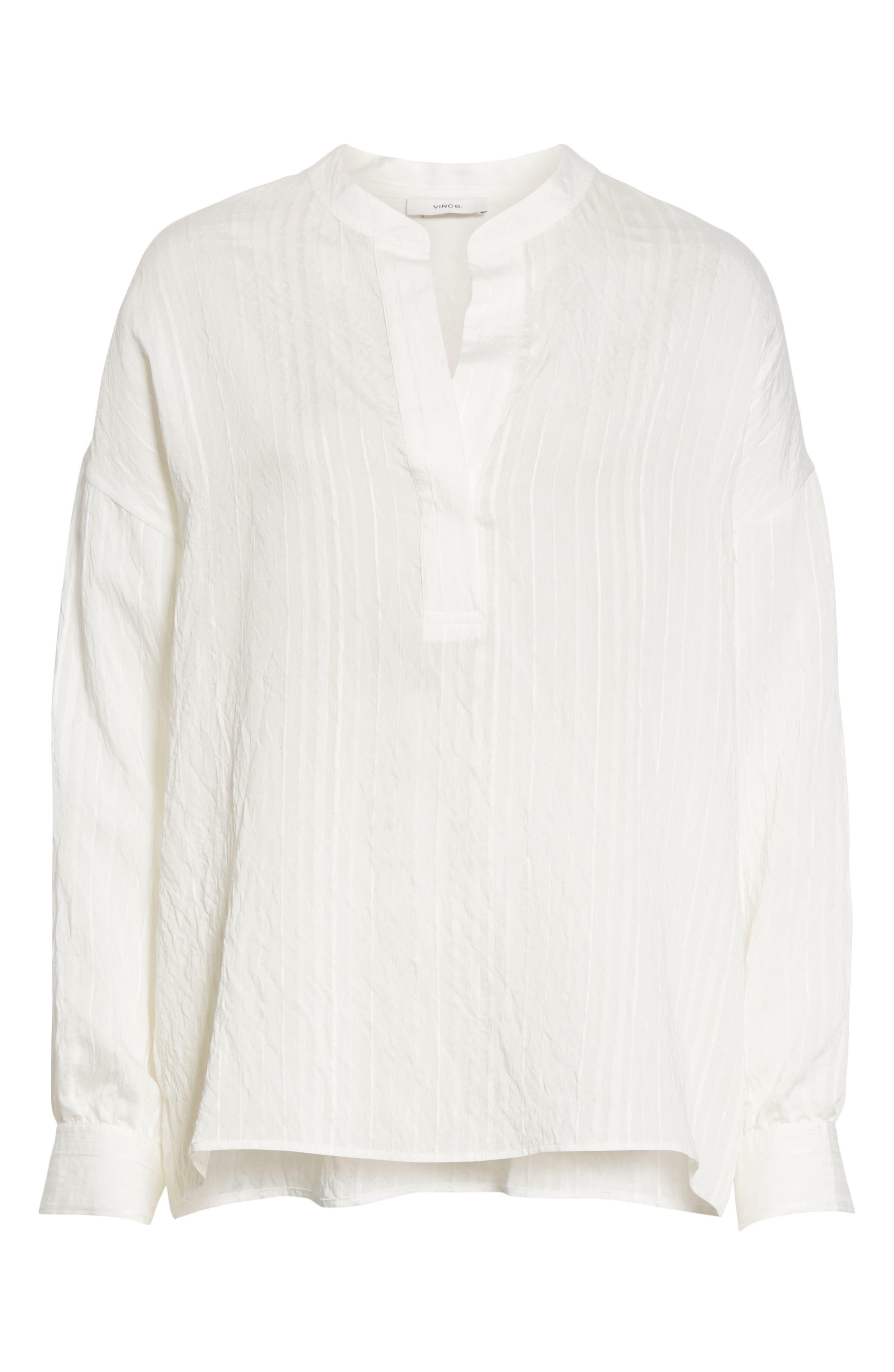 VINCE, Stripe Drop Sleeve Shirt, Alternate thumbnail 6, color, OPTIC WHITE