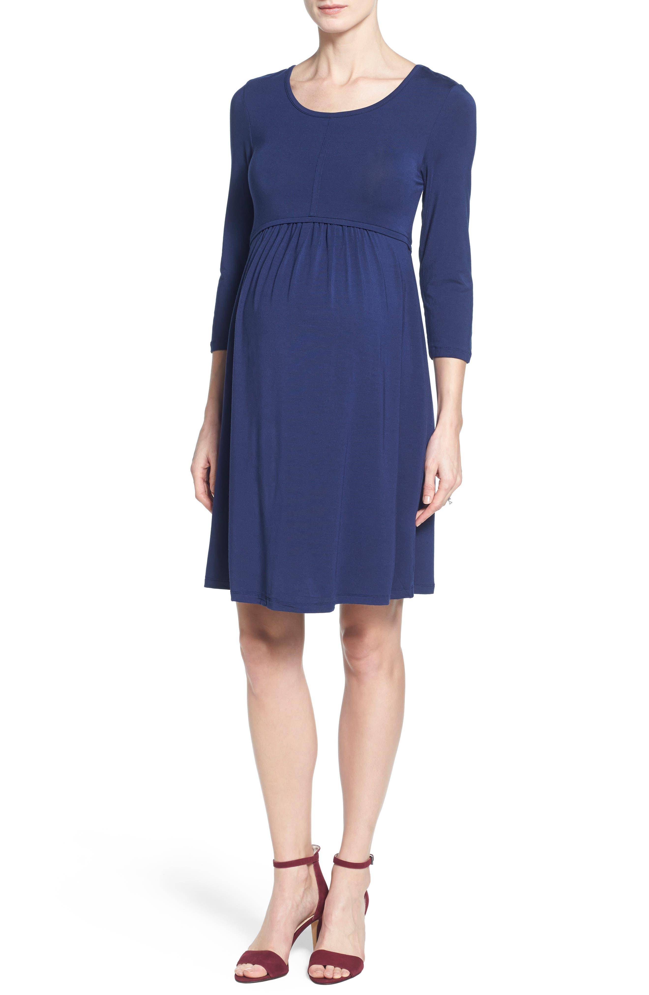 TART MATERNITY 'Mathilde' Elbow Sleeve Maternity Dress, Main, color, PEACOAT