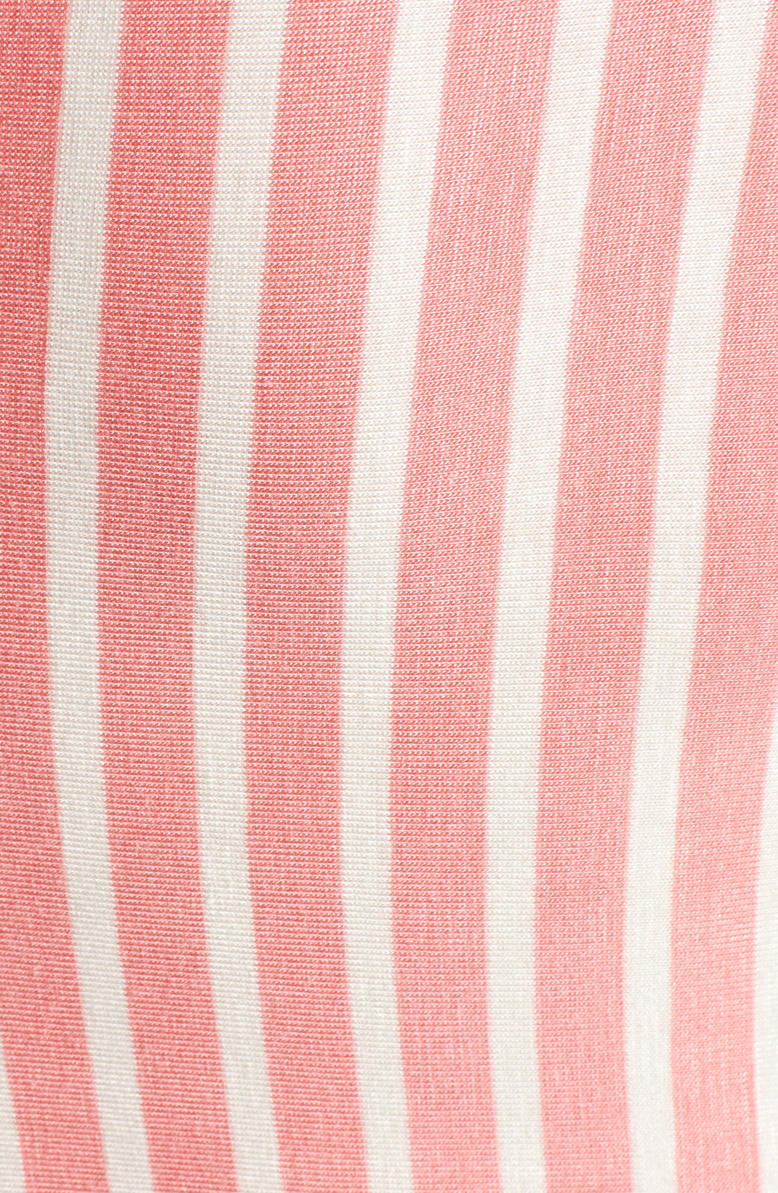 CASLON<SUP>®</SUP>, Stripe V-Neck Tee, Alternate thumbnail 5, color, CORAL- WHITE STRIPE