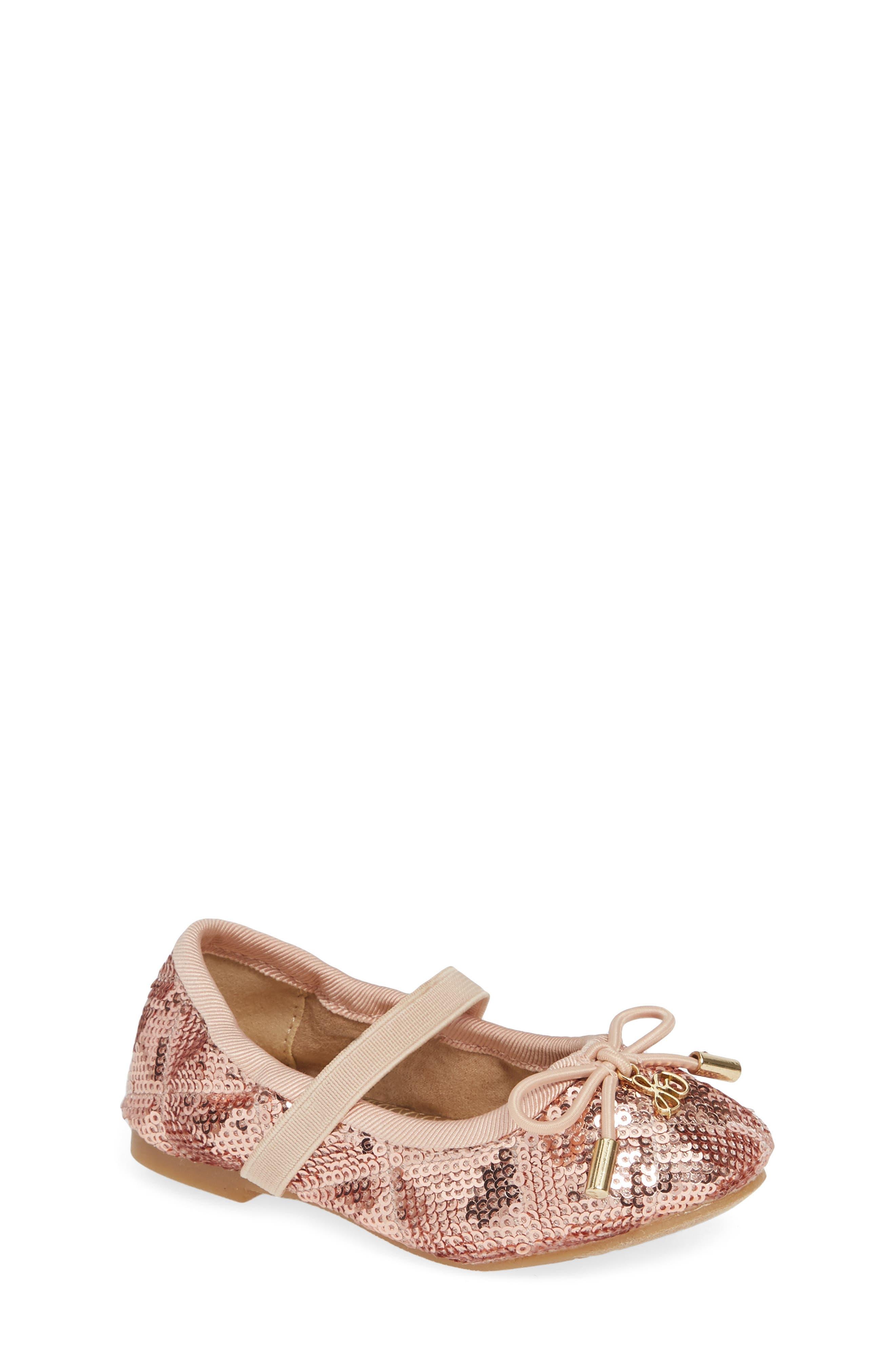 SAM EDELMAN, 'Felicia' Mary Jane Ballet Flat, Main thumbnail 1, color, ROSE GOLD