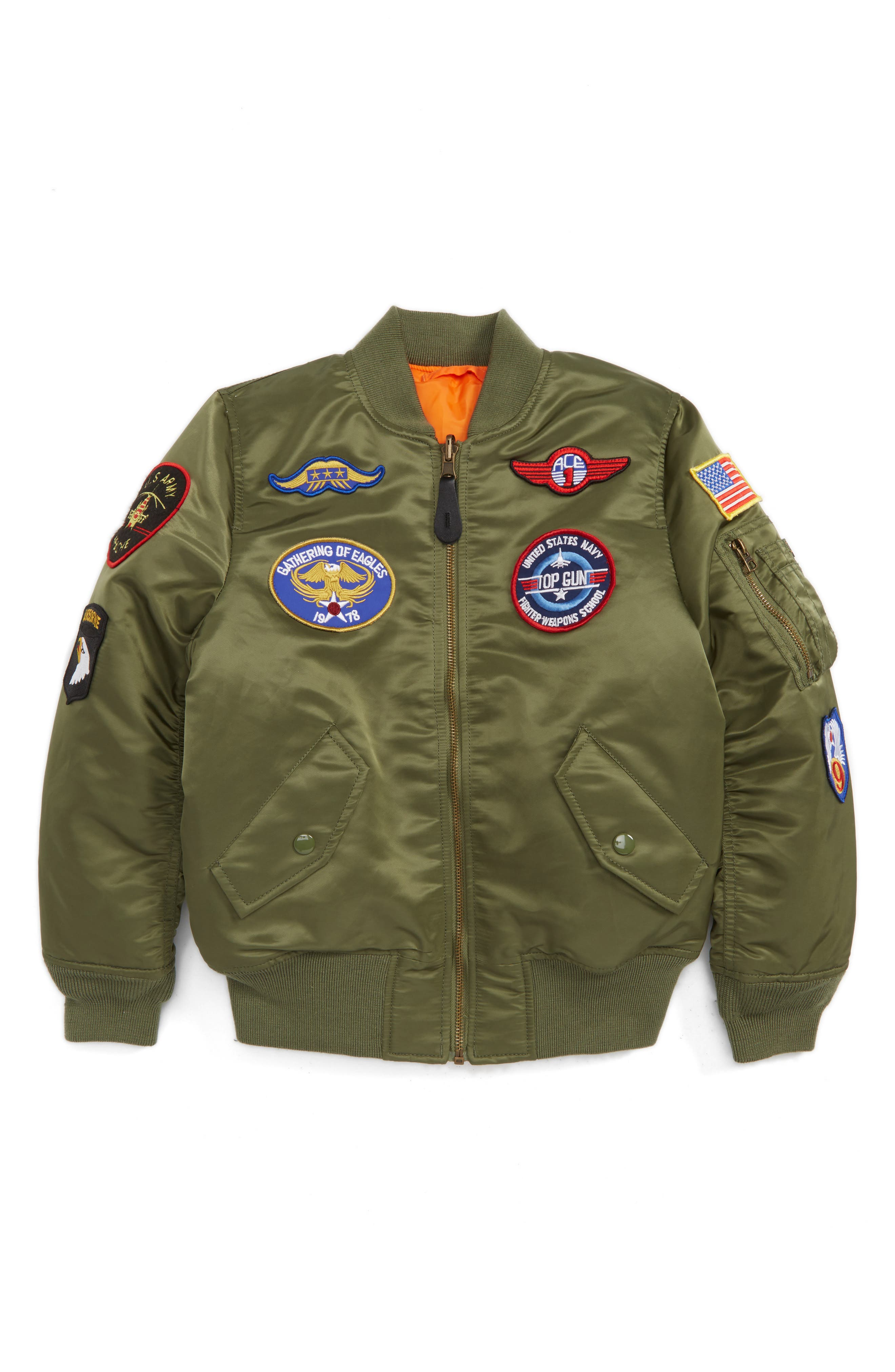 ALPHA INDUSTRIES MA-1 Patch Flight Jacket, Main, color, SAGE GREEN