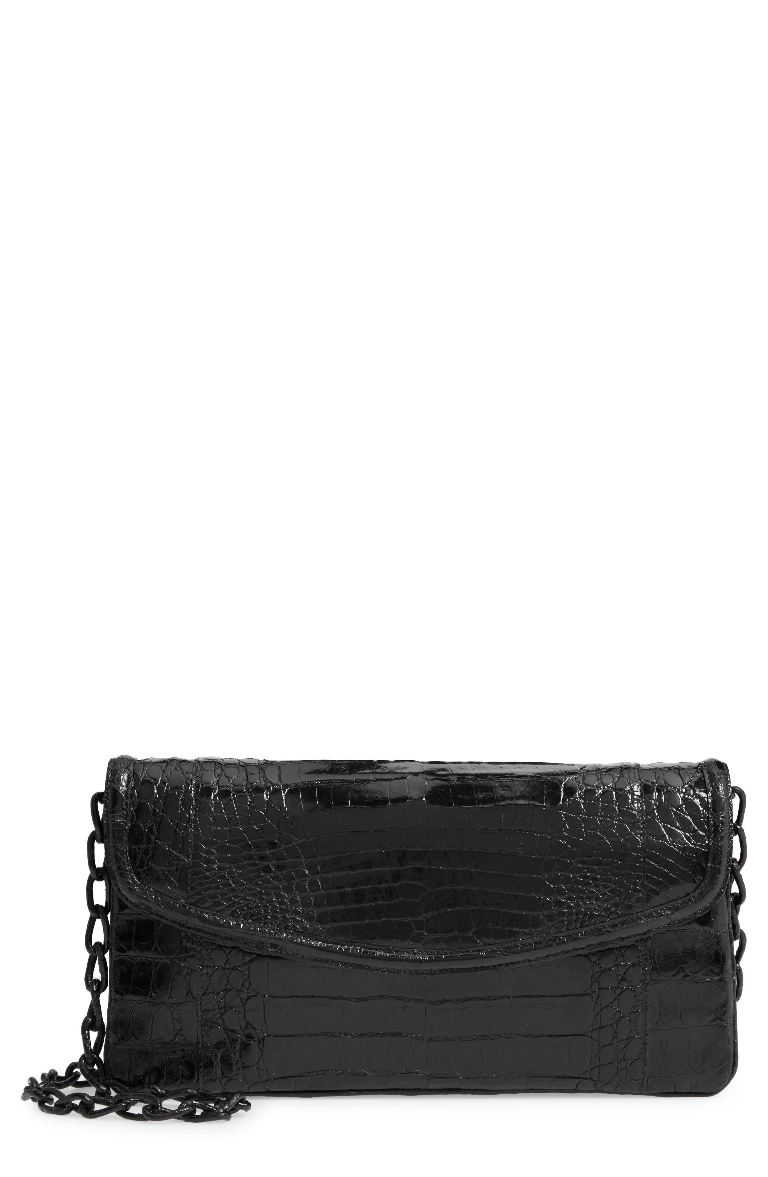NANCY GONZALEZ Small Genuine Crocodile Flap Clutch, Main, color, BLACK SHINY