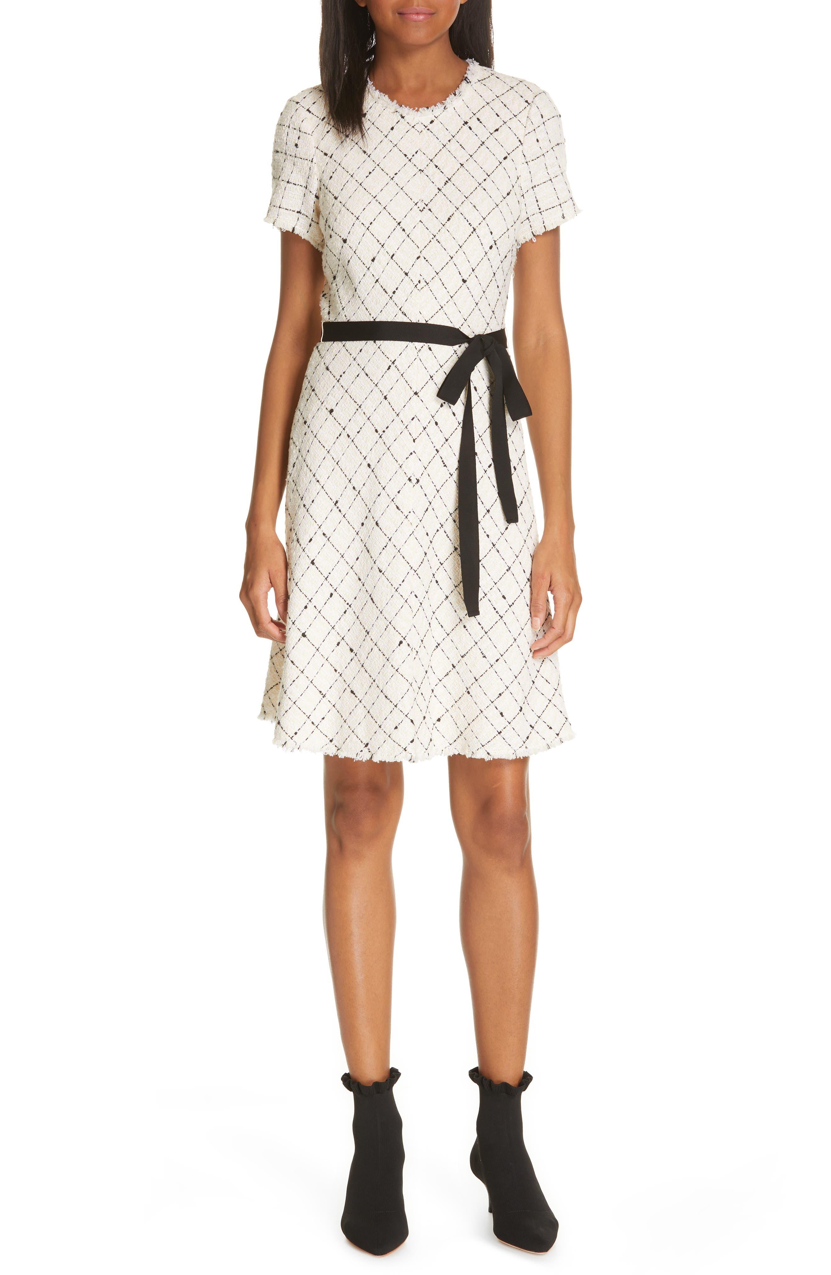 REBECCA TAYLOR, Plaid Tweed Dress, Main thumbnail 1, color, CREAM COMBO