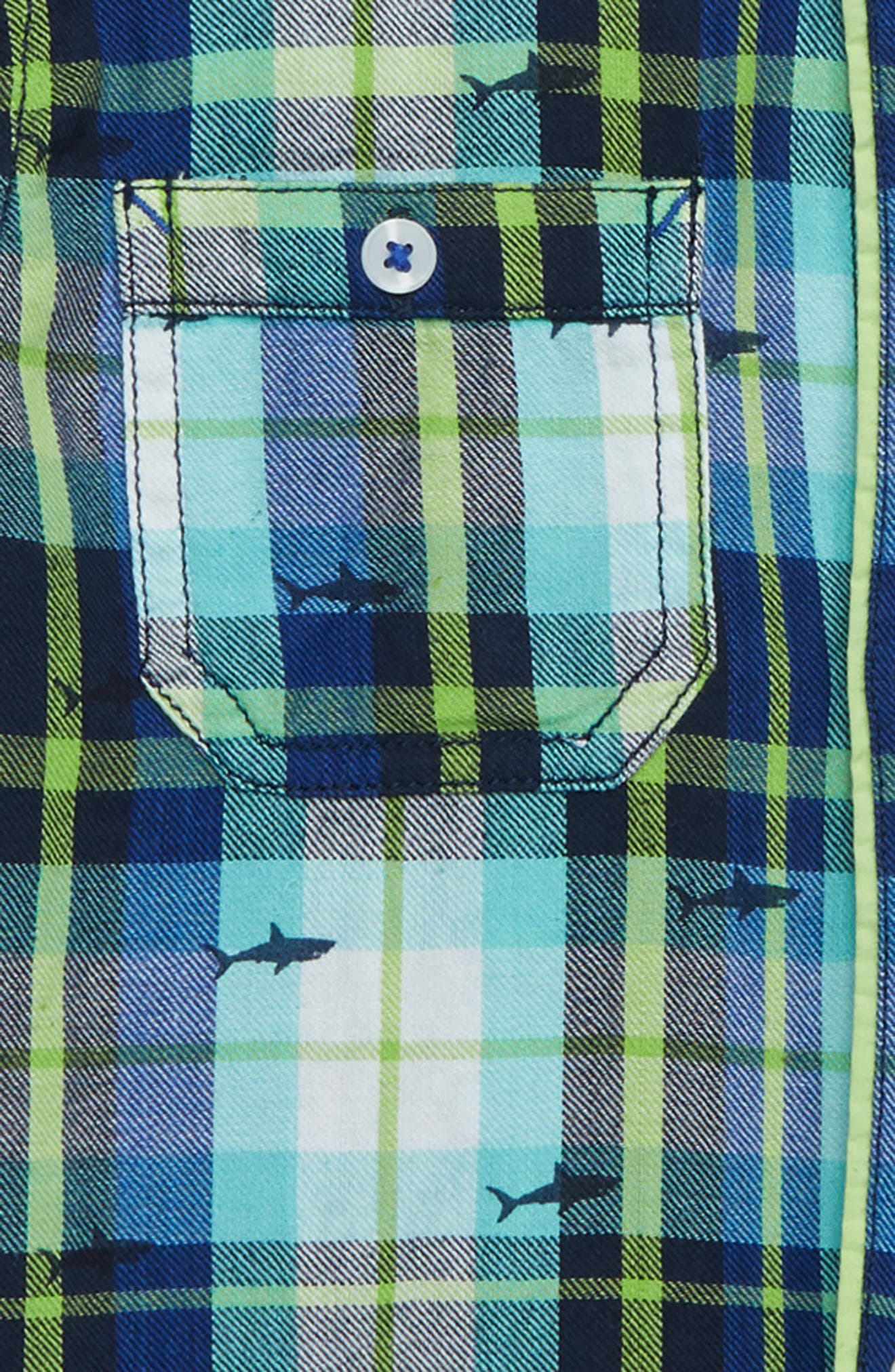 HATLEY, Shark Plaid Flannel Shirt, Alternate thumbnail 2, color, BLUE