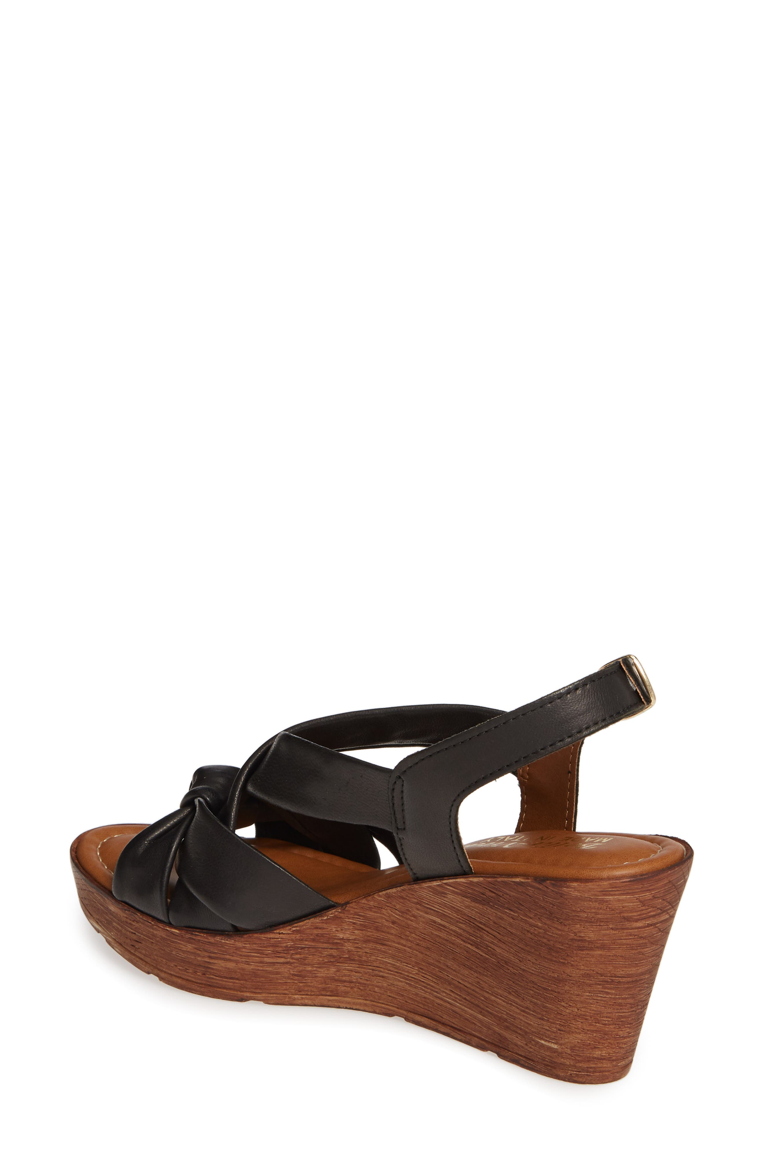 BELLA VITA, Italy Wedge Sandal, Alternate thumbnail 2, color, BLACK ITALIAN LEATHER
