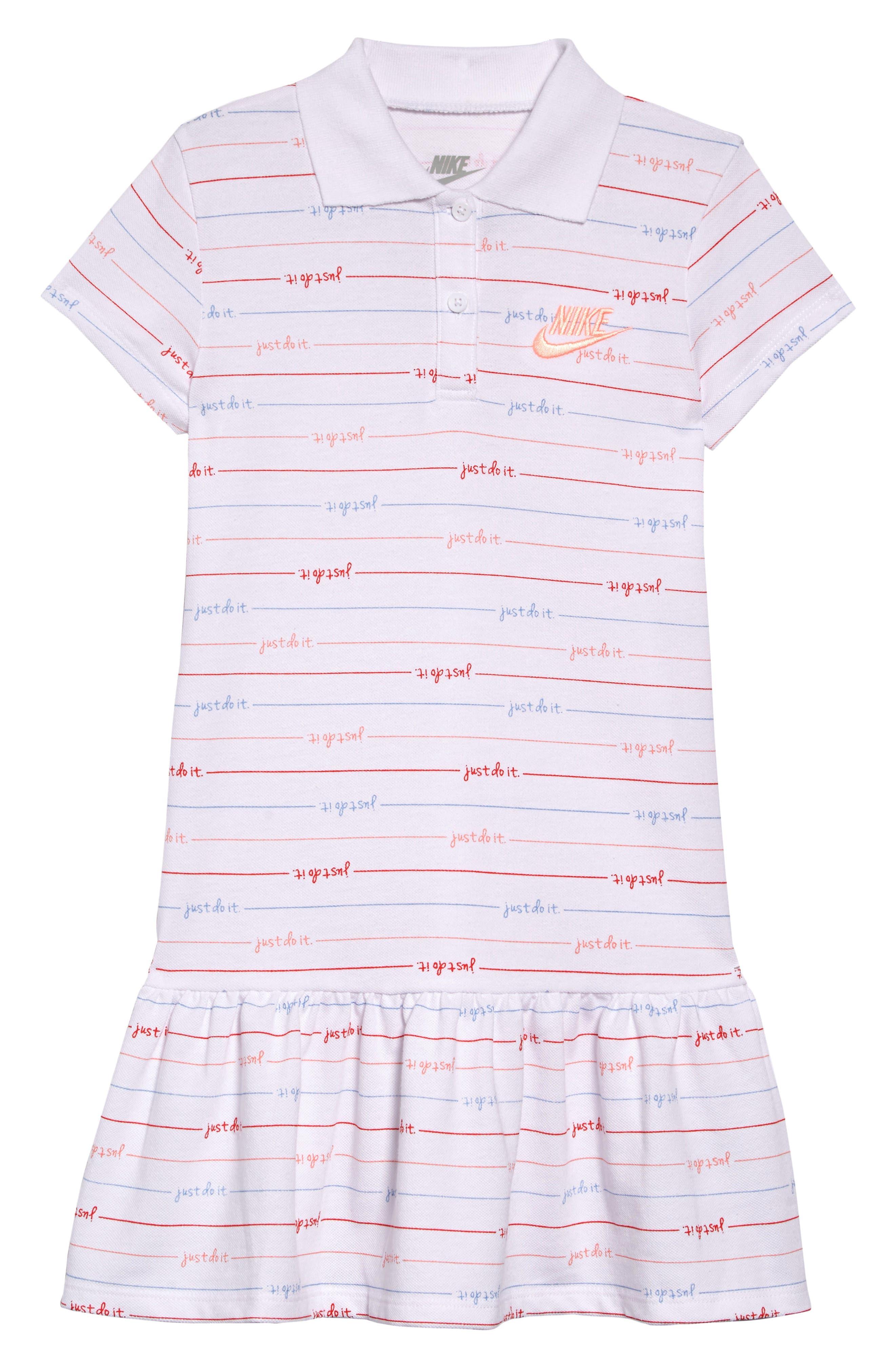NIKE Stripe Polo Dress, Main, color, WHITE