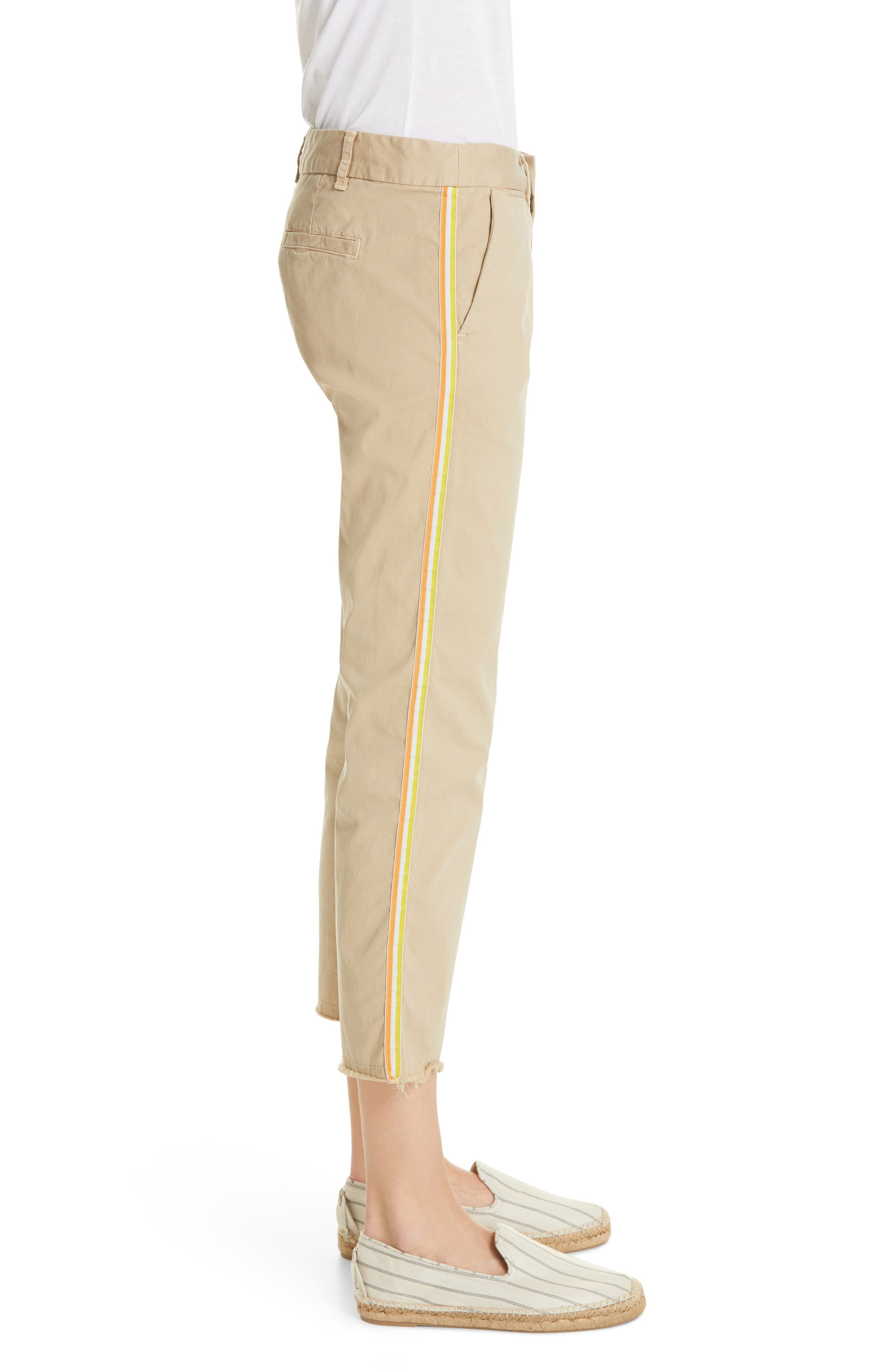 NILI LOTAN, East Hampton Side Tape Crop Pants, Alternate thumbnail 4, color, DESRT SAND ORANGE/ YELLOW TAPE