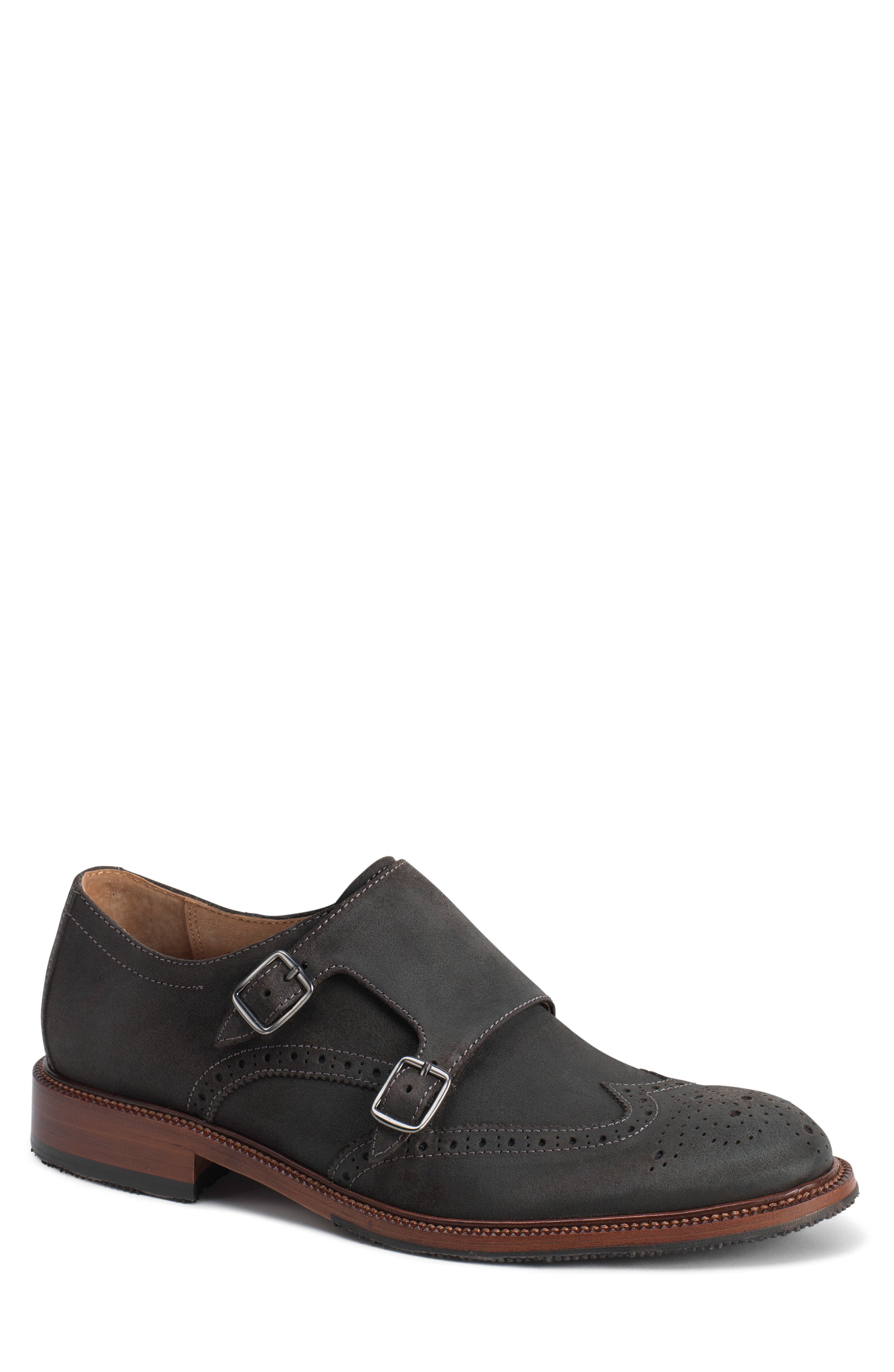 TRASK Leland Double Monk Strap Shoe, Main, color, GRAY WAXED SUEDE