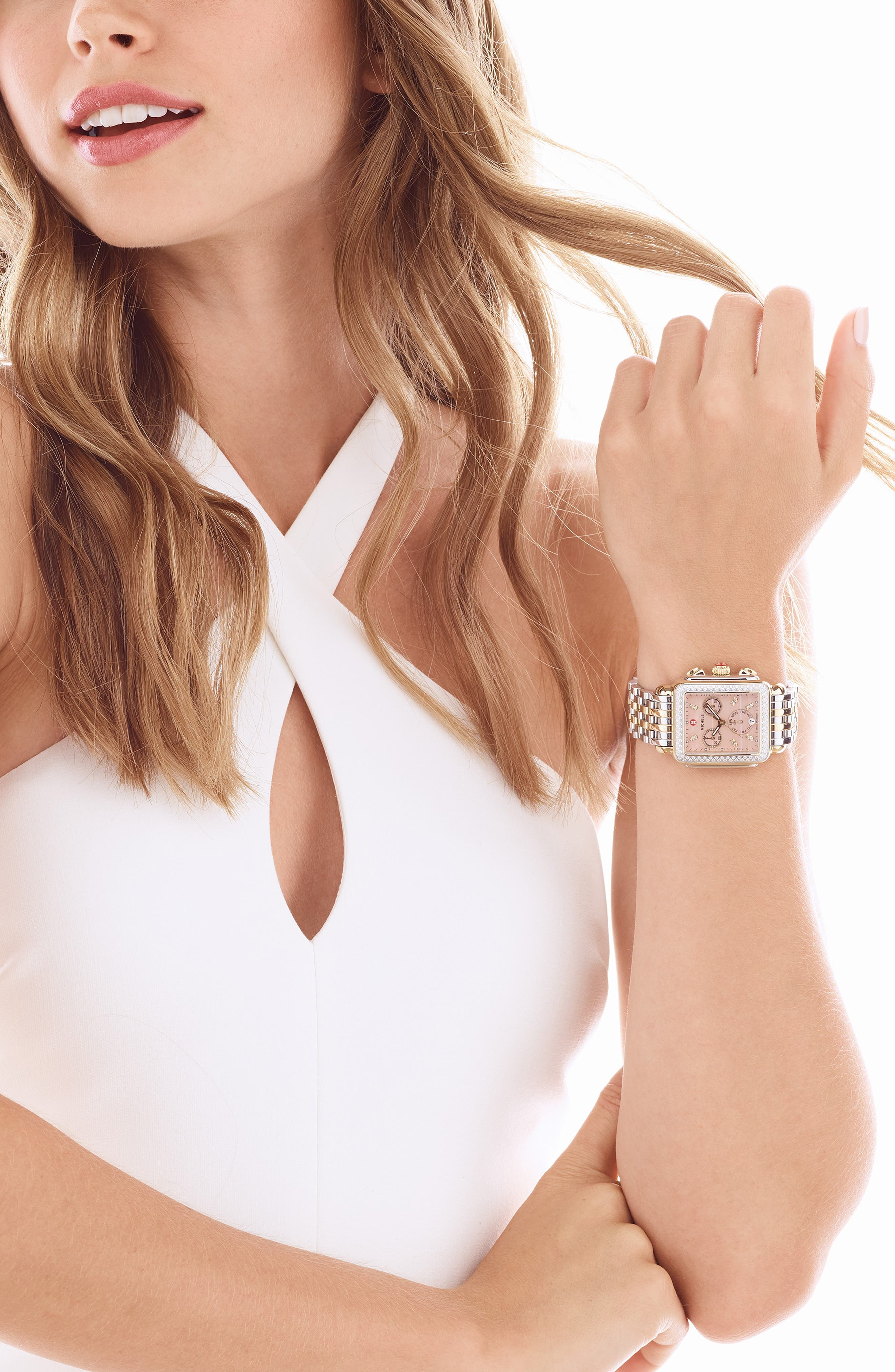 MICHELE, Deco Diamond Diamond Dial Watch Head, 33mm x 35mm, Alternate thumbnail 2, color, GOLD/ SILVER/ DESERT ROSE MOP