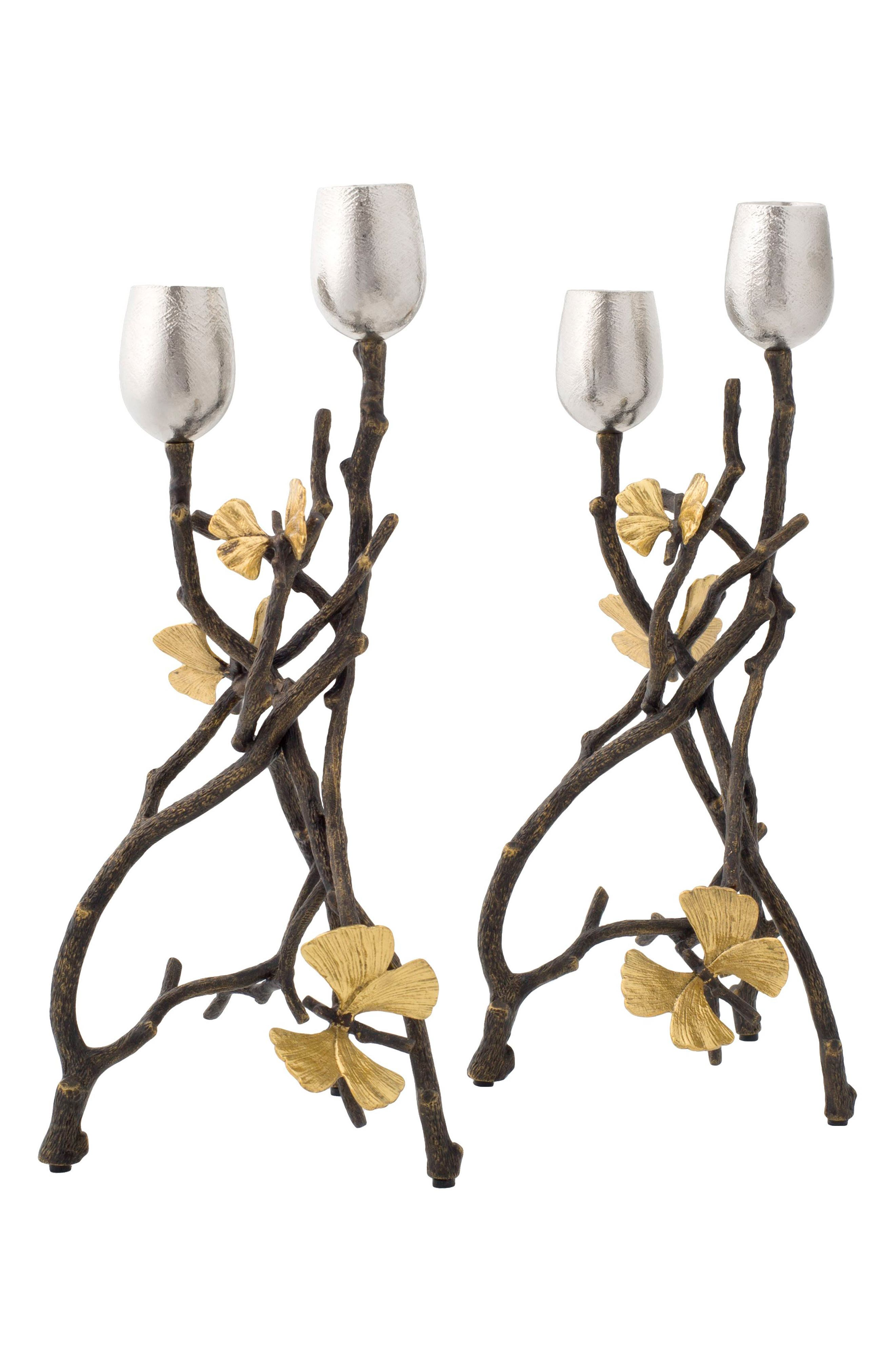 MICHAEL ARAM Butterfly Ginkgo Set of 2 Candleholders, Main, color, 042