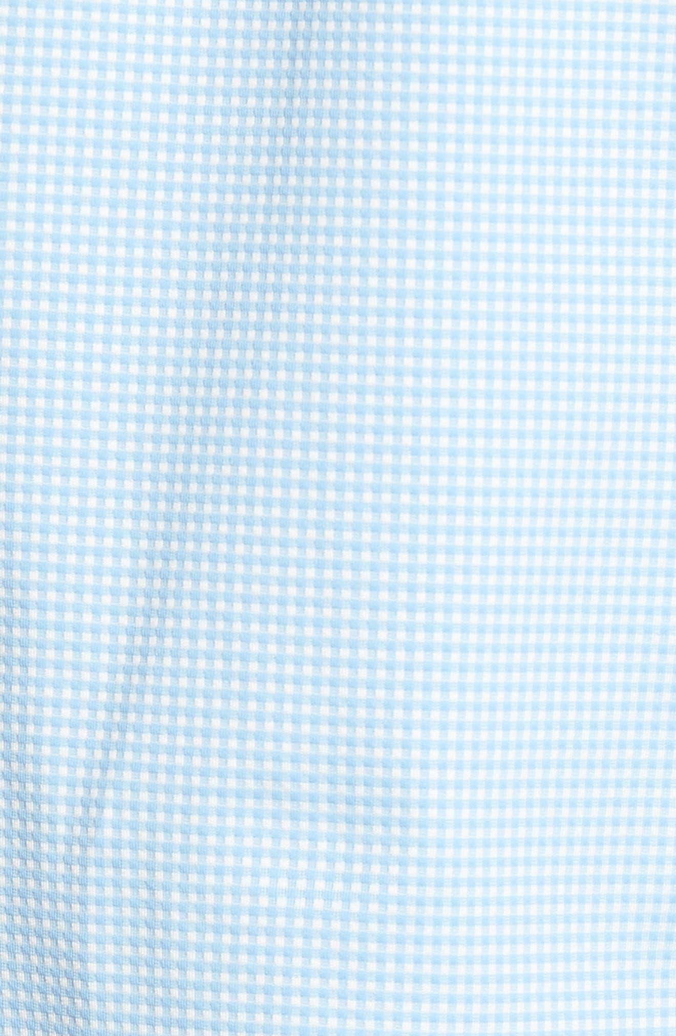 MIZZEN+MAIN, Whitman Trim Fit Dobby Gingham Performance Sport Shirt, Alternate thumbnail 5, color, BLUE