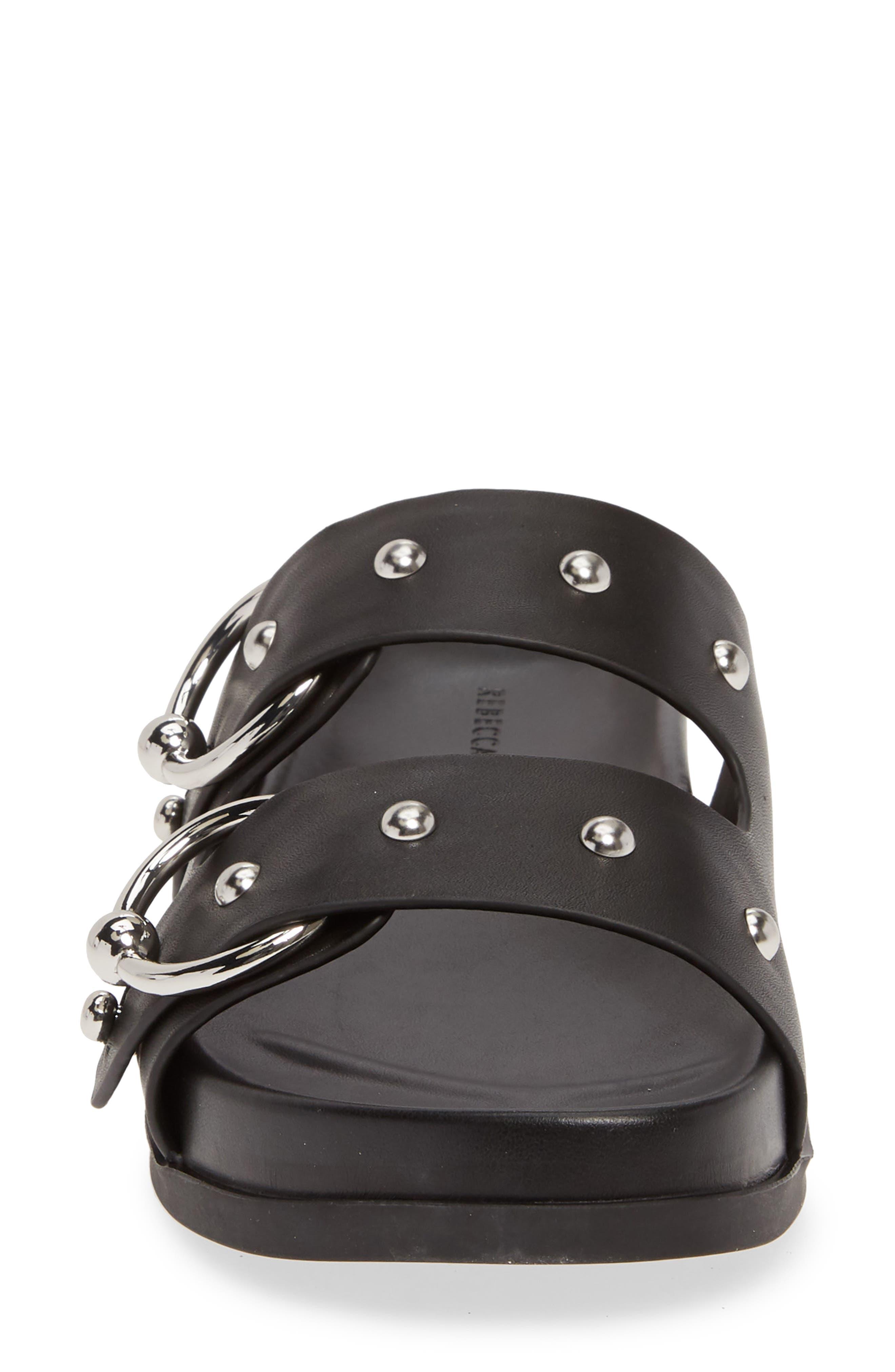 REBECCA MINKOFF, Vachel Slide Sandal, Alternate thumbnail 4, color, BLACK LEATHER