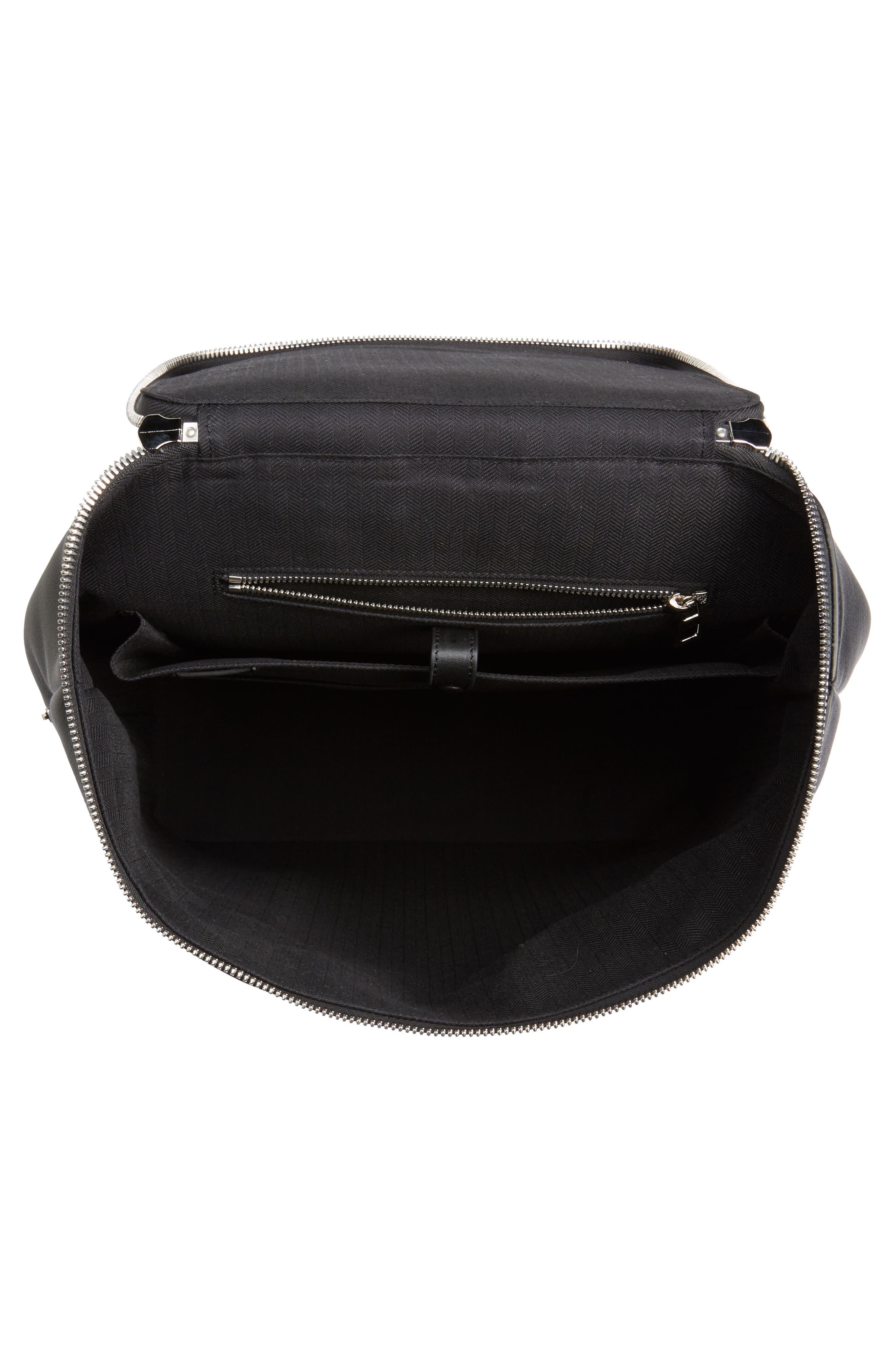 LOEWE, Goya Leather Backpack, Alternate thumbnail 4, color, BLACK