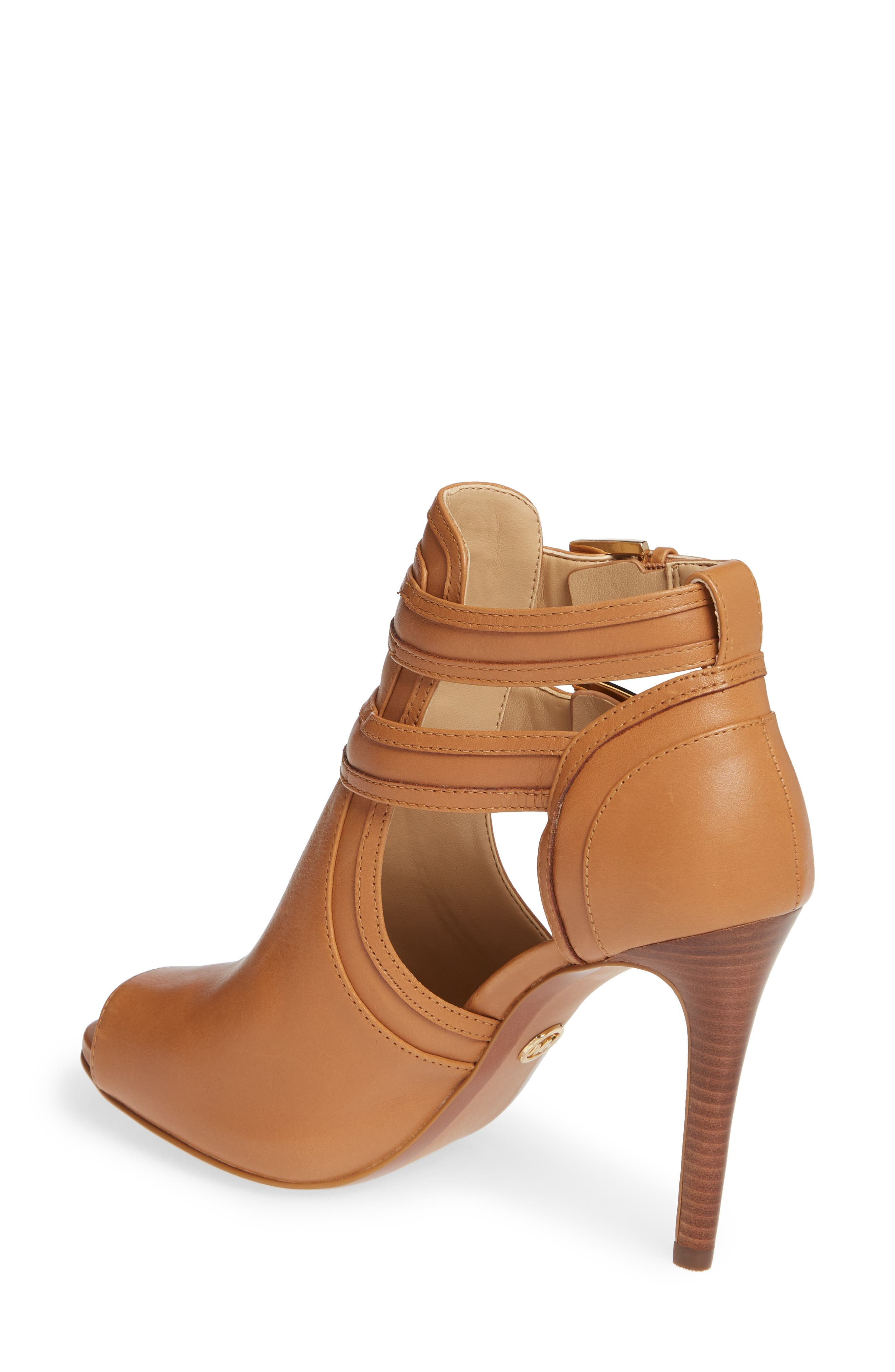 MICHAEL MICHAEL KORS, Blaze Peep Toe Buckle Bootie, Alternate thumbnail 2, color, ACORN LEATHER