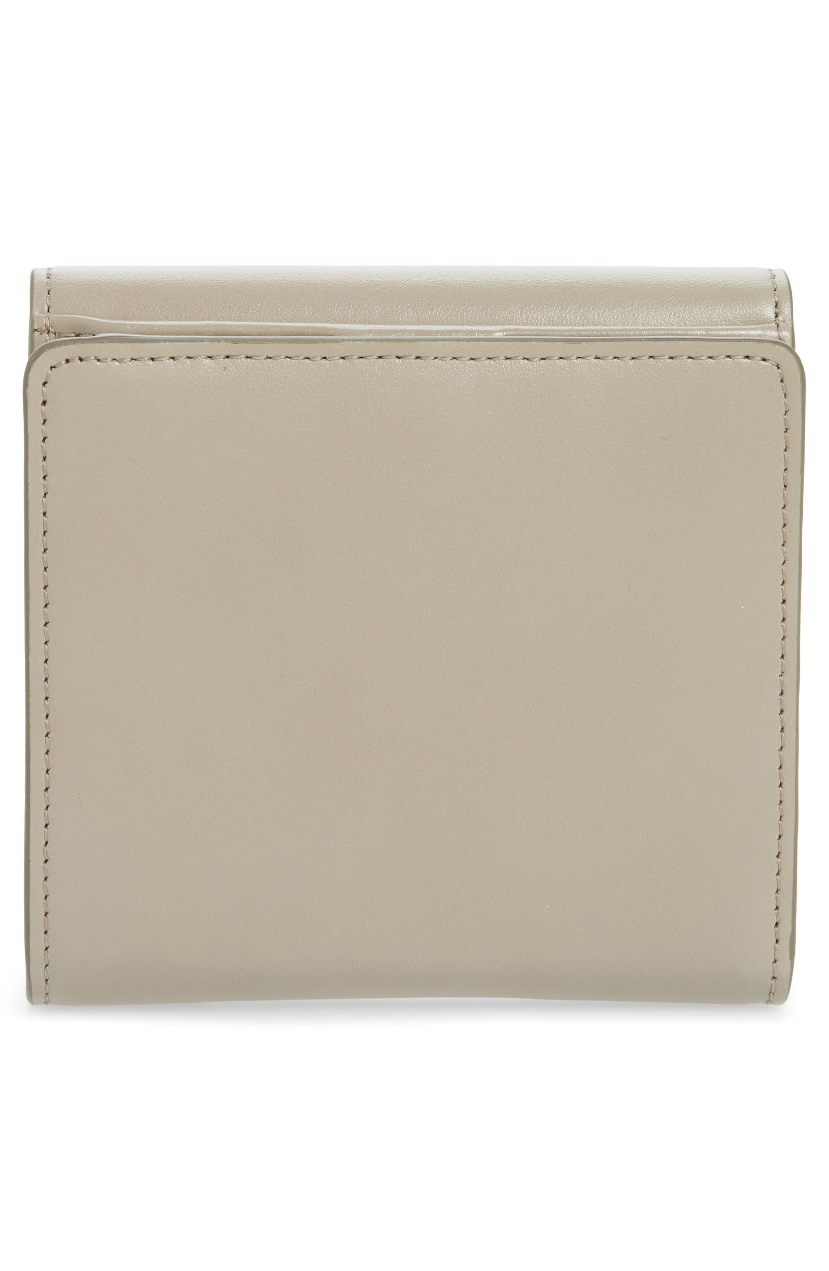 CHLOÉ, Square Leather Wallet, Alternate thumbnail 4, color, MOTTY GREY