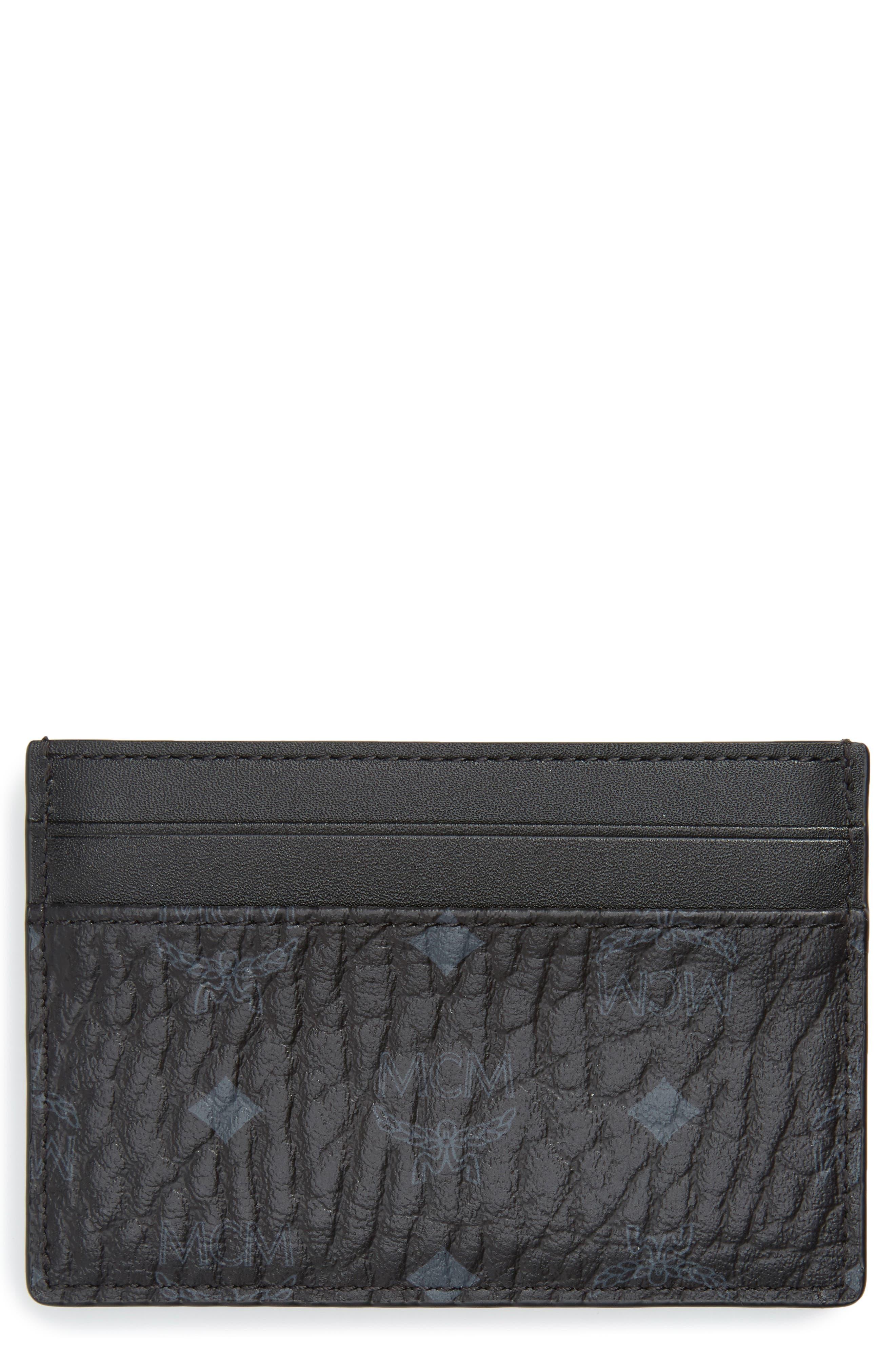 MCM Logo Leather Card Case, Main, color, BLACK