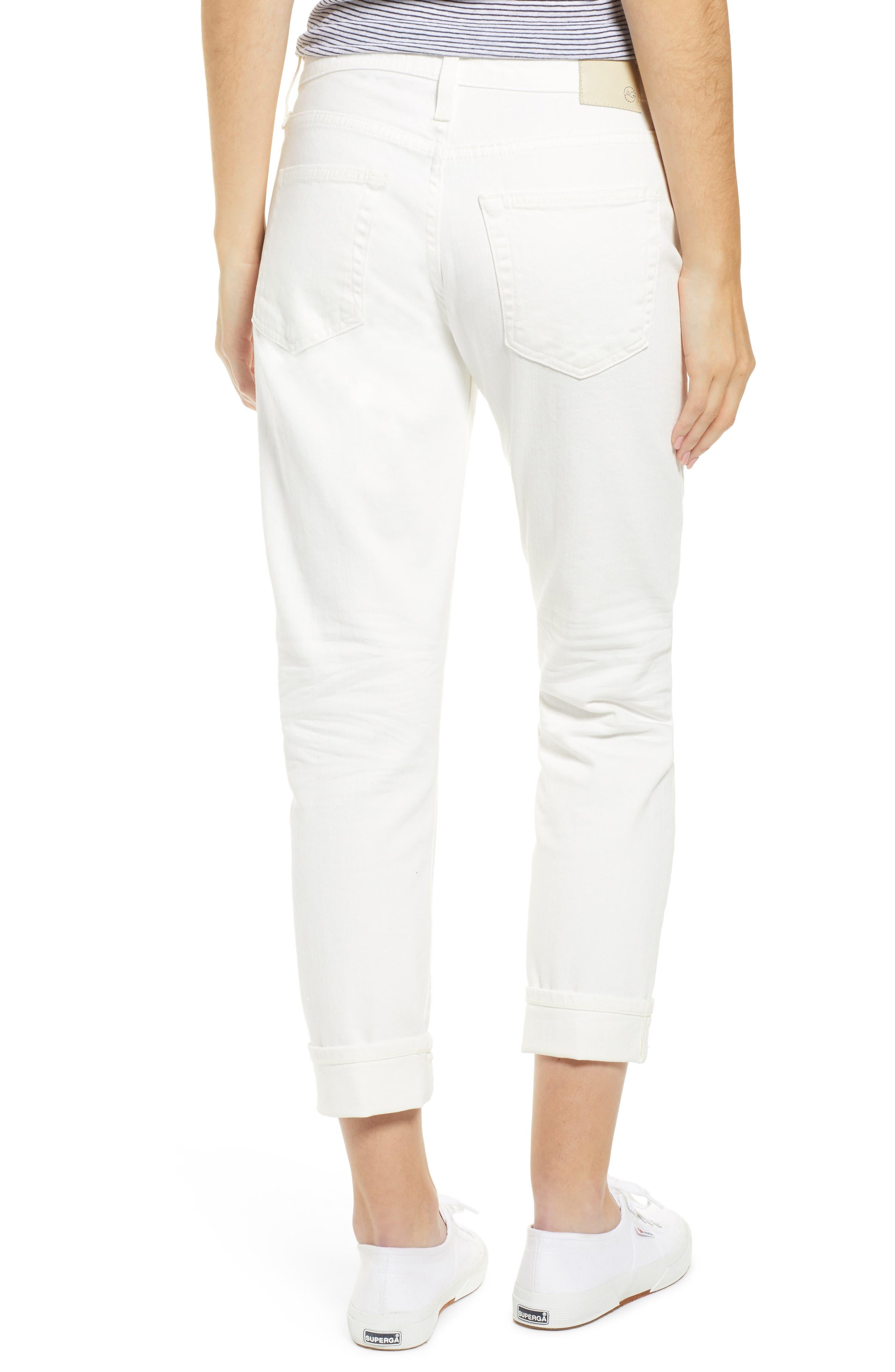 AG, The Ex-Boyfriend Crop Slim Jeans, Alternate thumbnail 2, color, 01Y TONAL WHITE