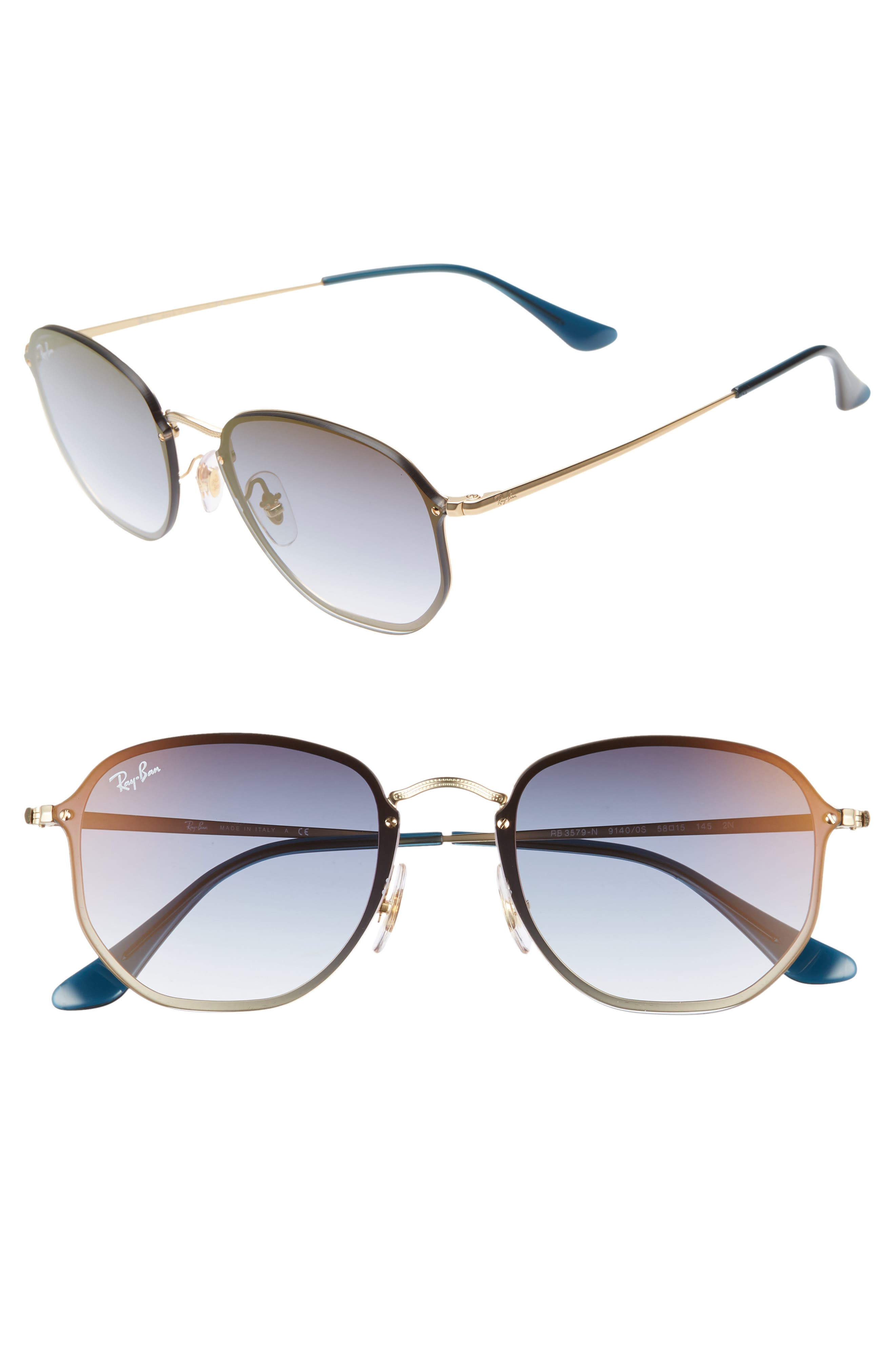 RAY-BAN, 58mm Round Sunglasses, Main thumbnail 1, color, GOLD/ TRANSPARENT BLUE
