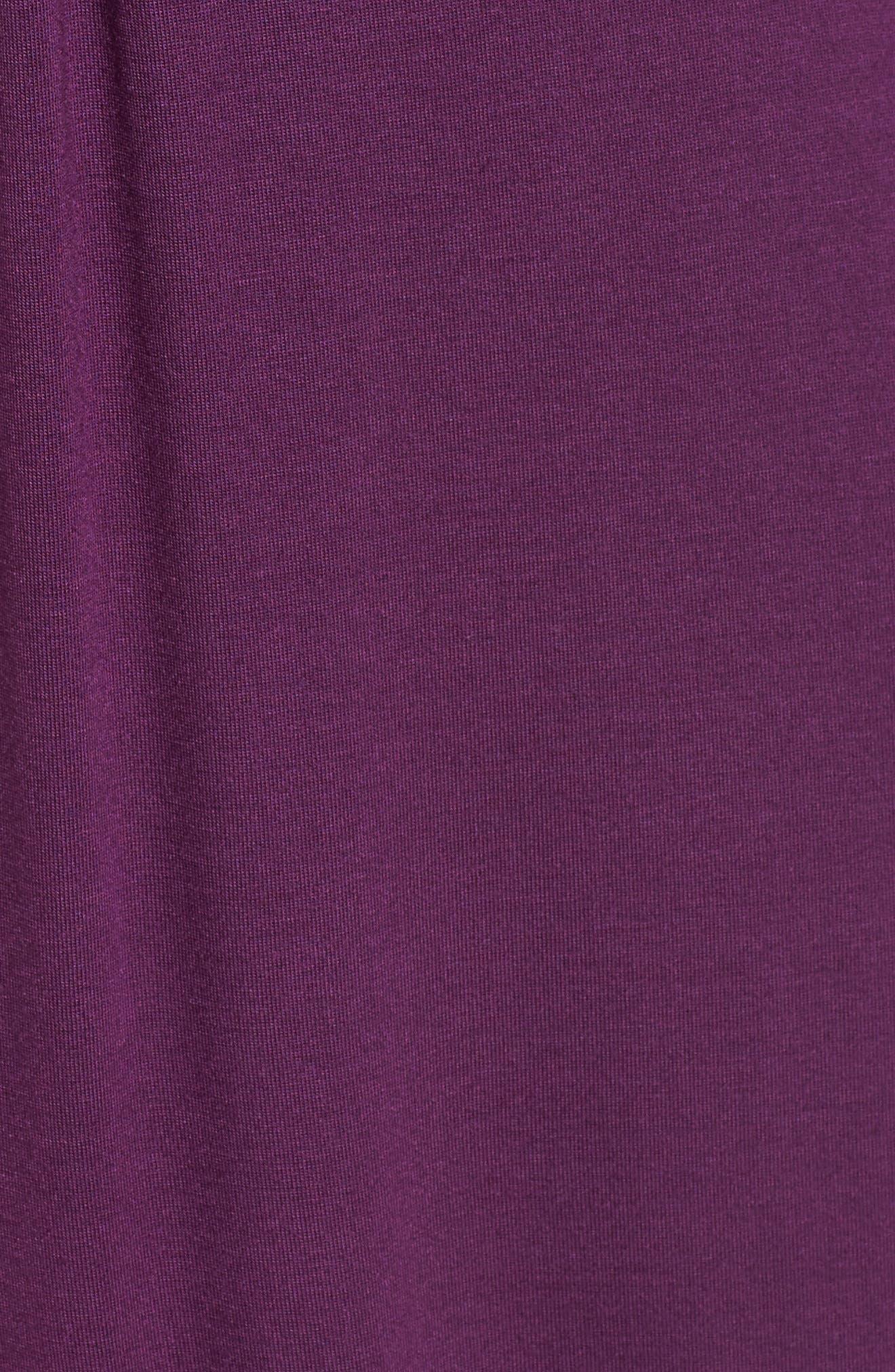 LOVEAPPELLA, V-Neck Jersey Maxi Dress, Alternate thumbnail 6, color, PURPLE DARK