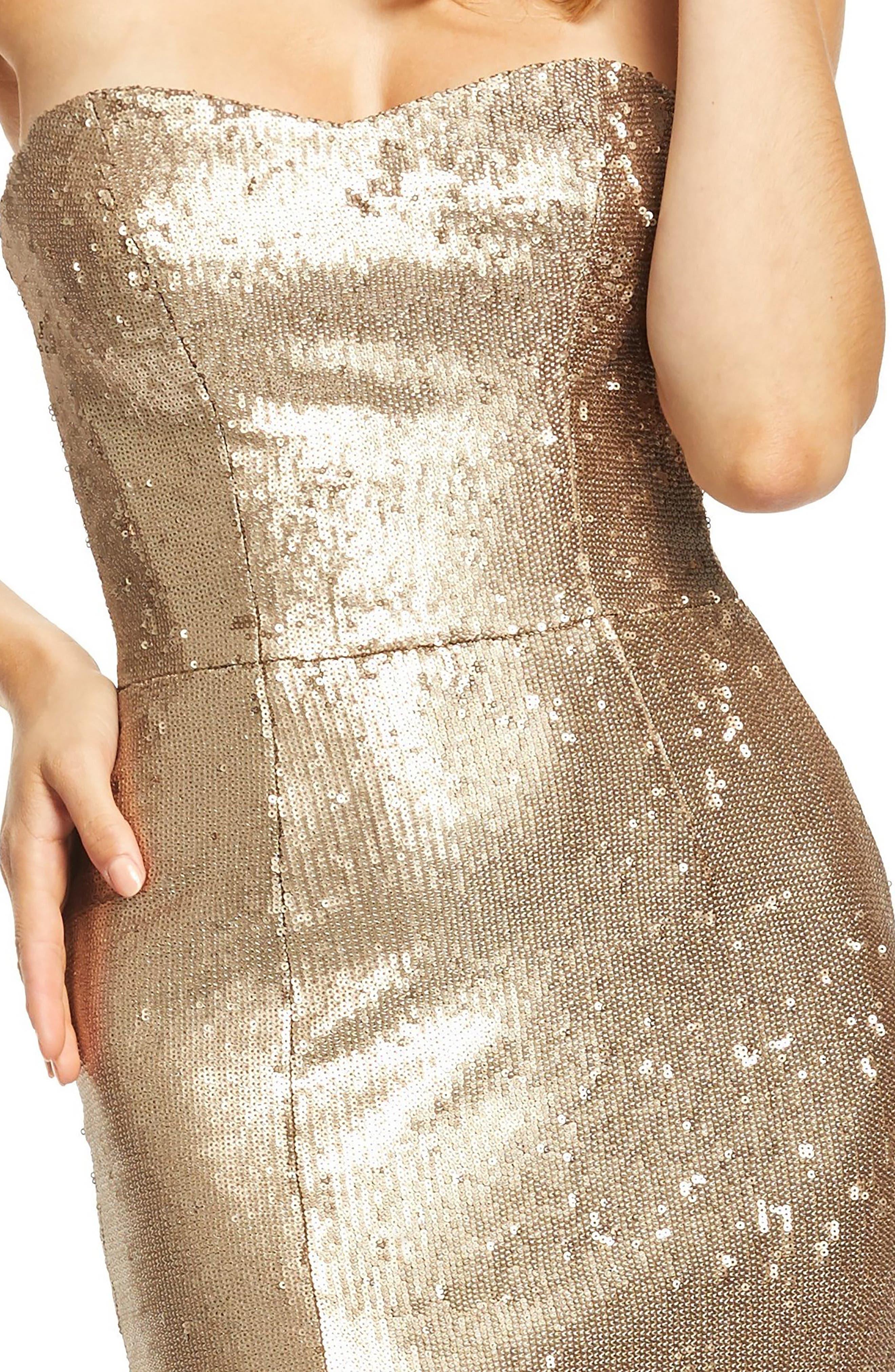 DRESS THE POPULATION, Ellen Strapless Sequin Evening Dress, Alternate thumbnail 5, color, BRONZE