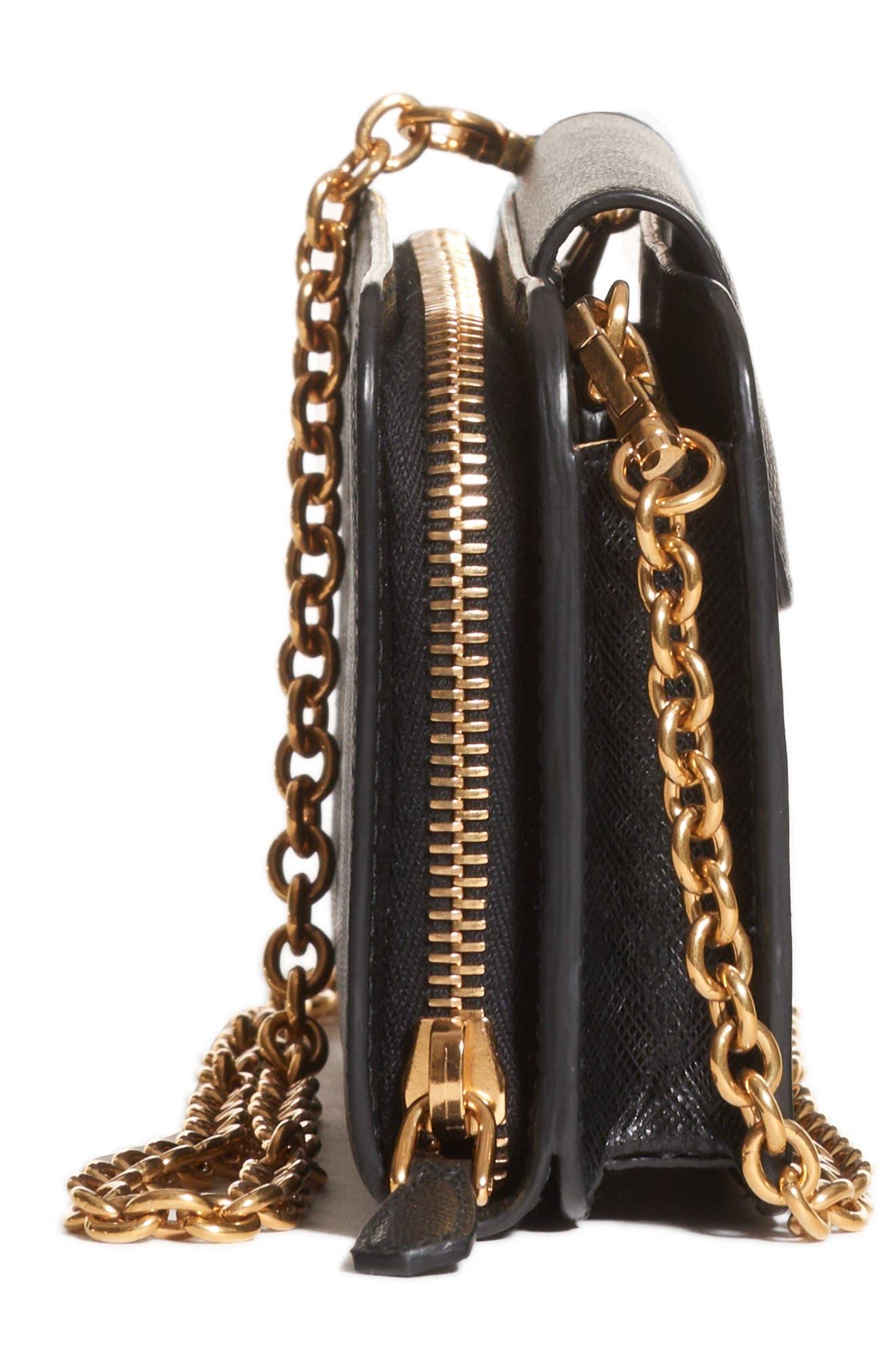 PRADA, Saffiano Leather Wallet on a Chain, Alternate thumbnail 6, color, NERO