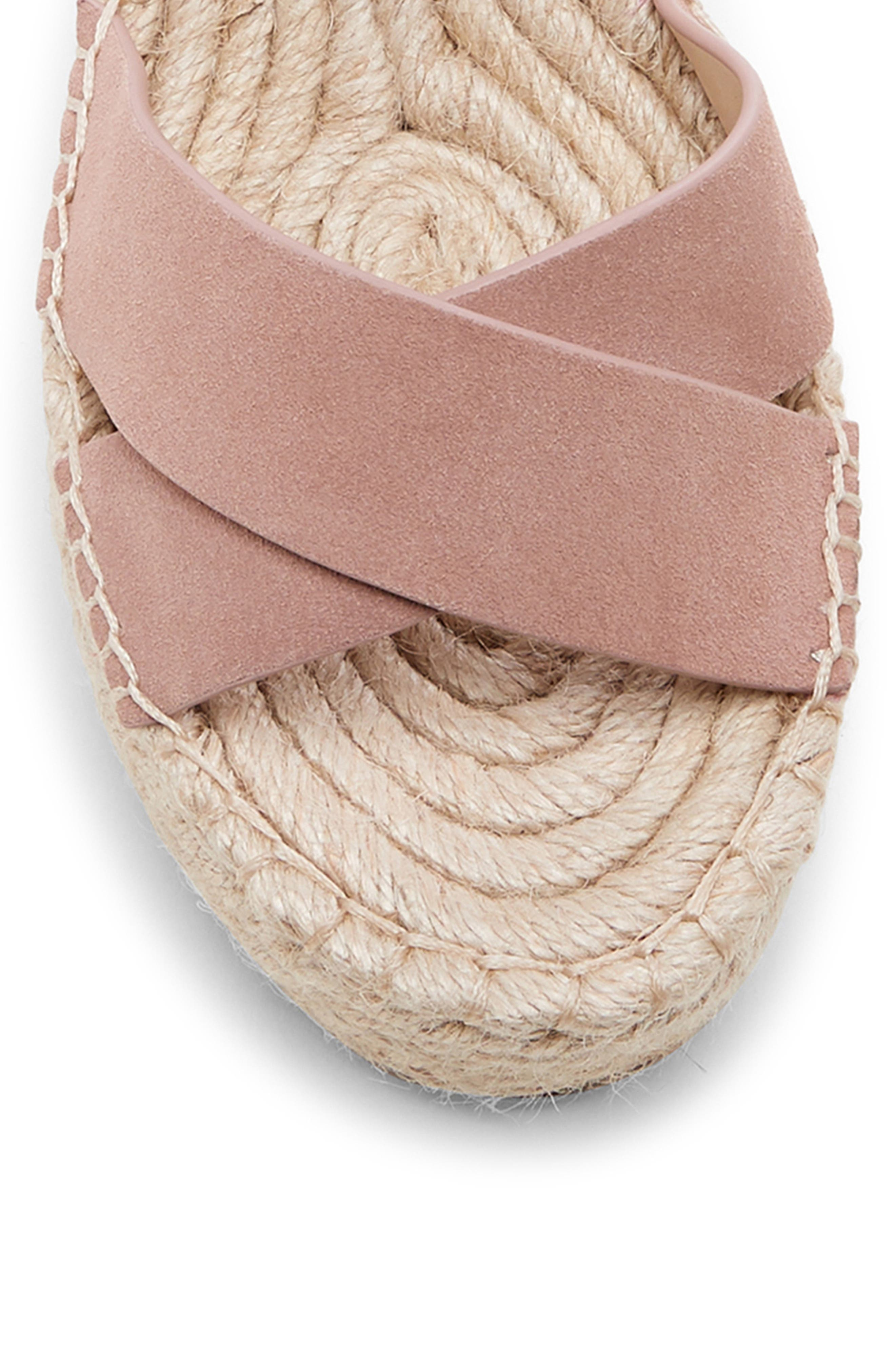 SOLE SOCIETY, Audrina Platform Espadrille Sandal, Alternate thumbnail 8, color, DUSTY ROSE SUEDE