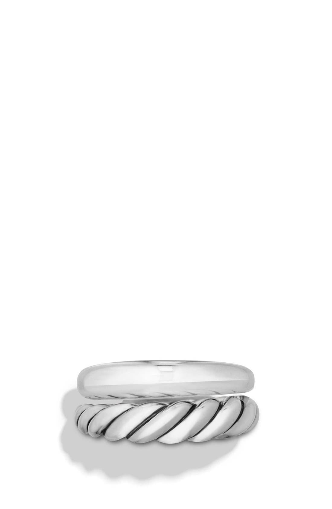 DAVID YURMAN, 'Pure Form' Sterling Silver Stacking Rings, Alternate thumbnail 2, color, SILVER