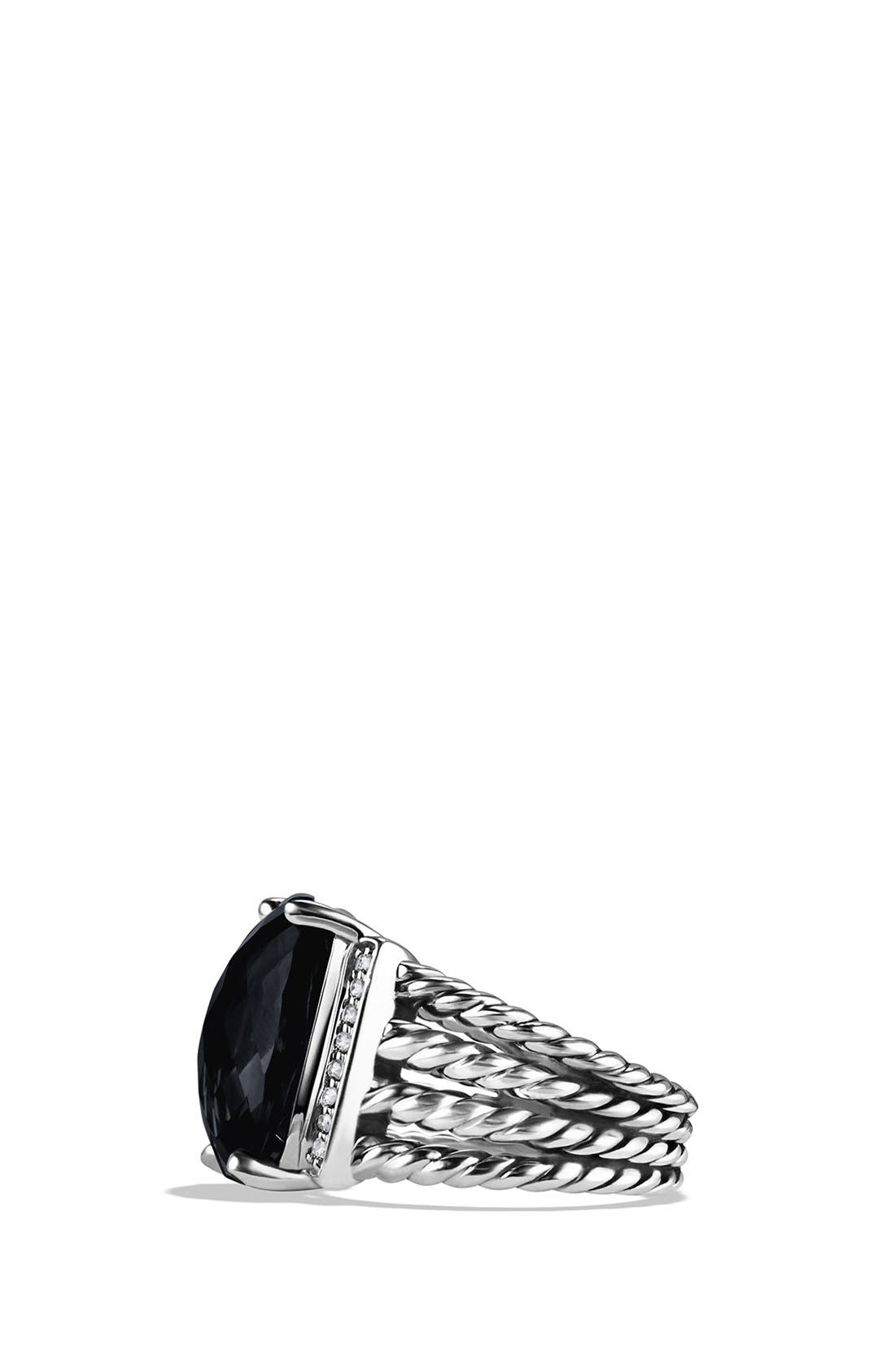 DAVID YURMAN, 'Wheaton' Ring with Semiprecious Stone & Diamonds, Alternate thumbnail 5, color, BLACK ONYX