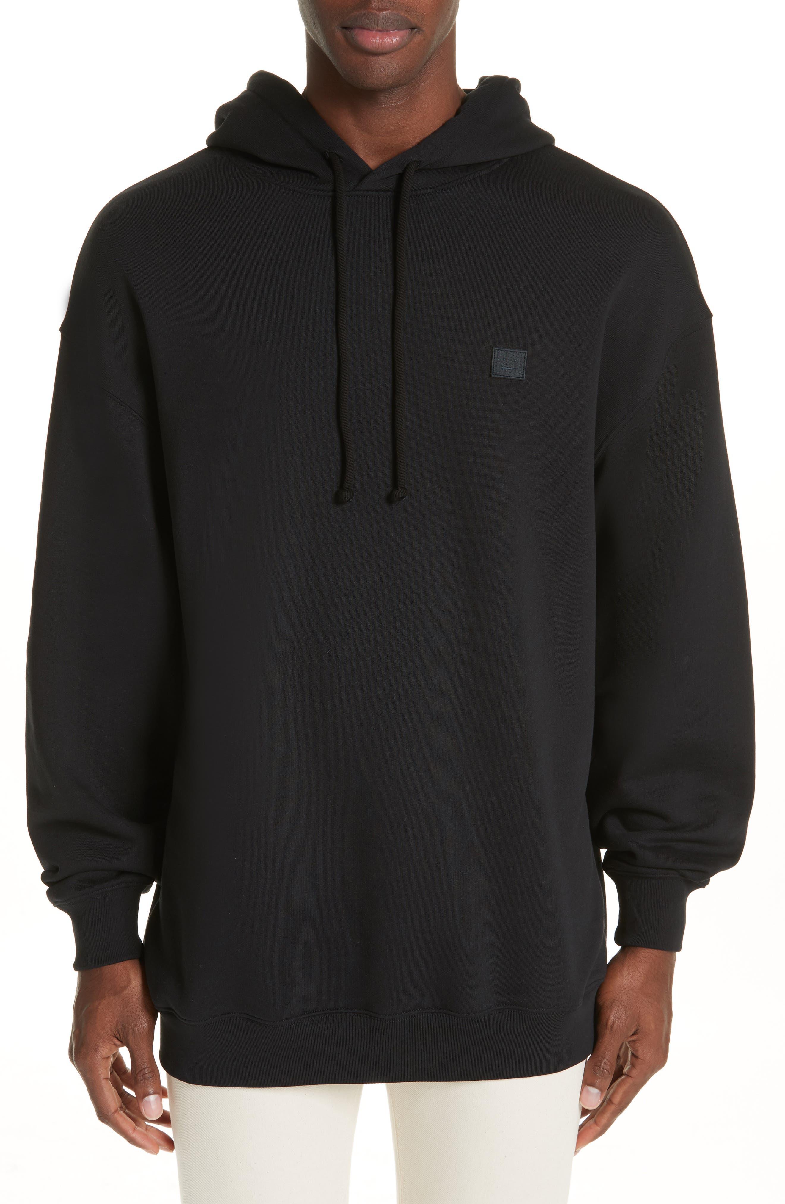 ACNE STUDIOS, Farrin Face Hooded Sweatshirt, Main thumbnail 1, color, BLACK