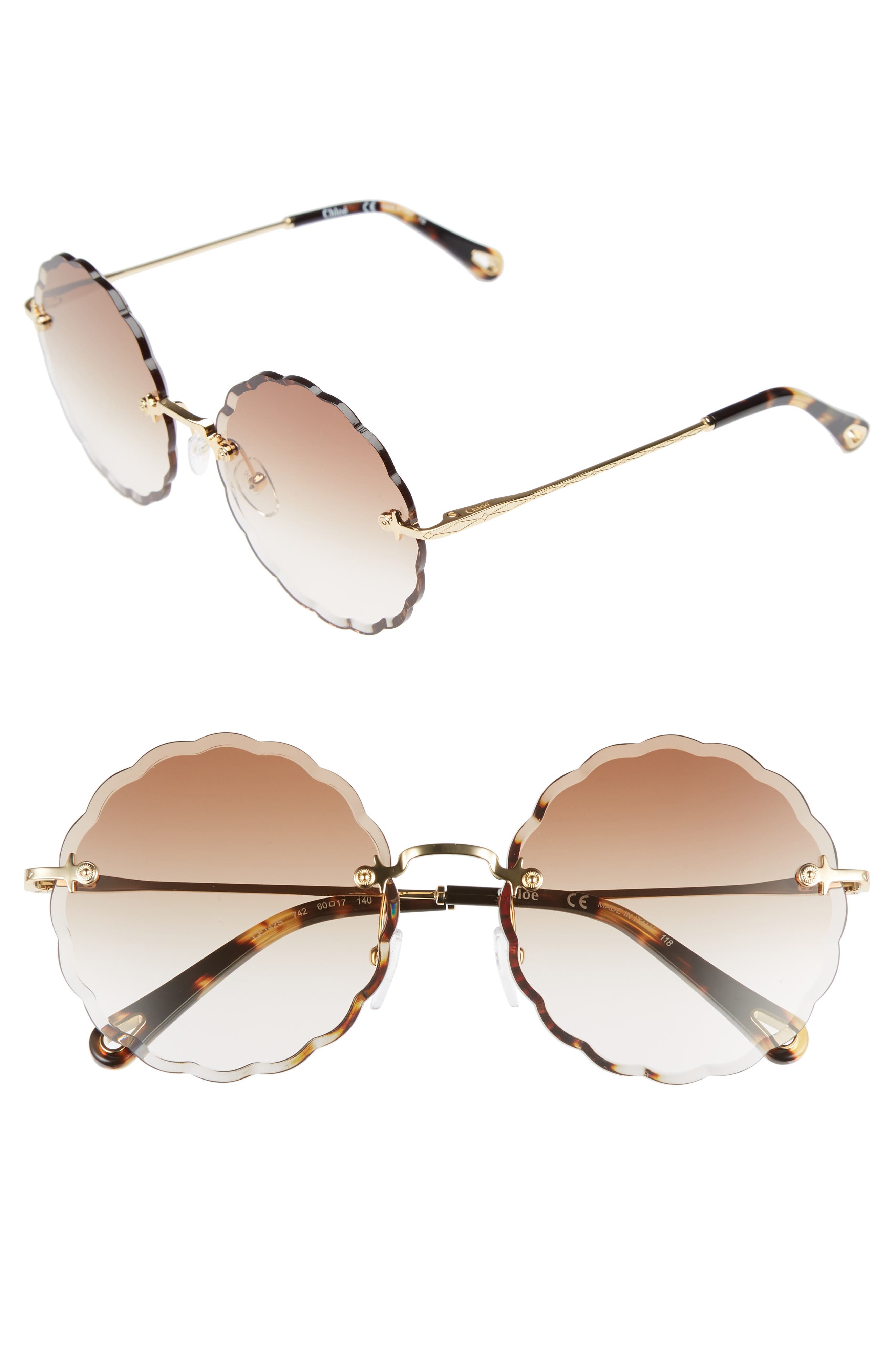 CHLOÉ, Rosie 60mm Scalloped Rimless Sunglasses, Main thumbnail 1, color, GOLD/ GRADIENT BROWN