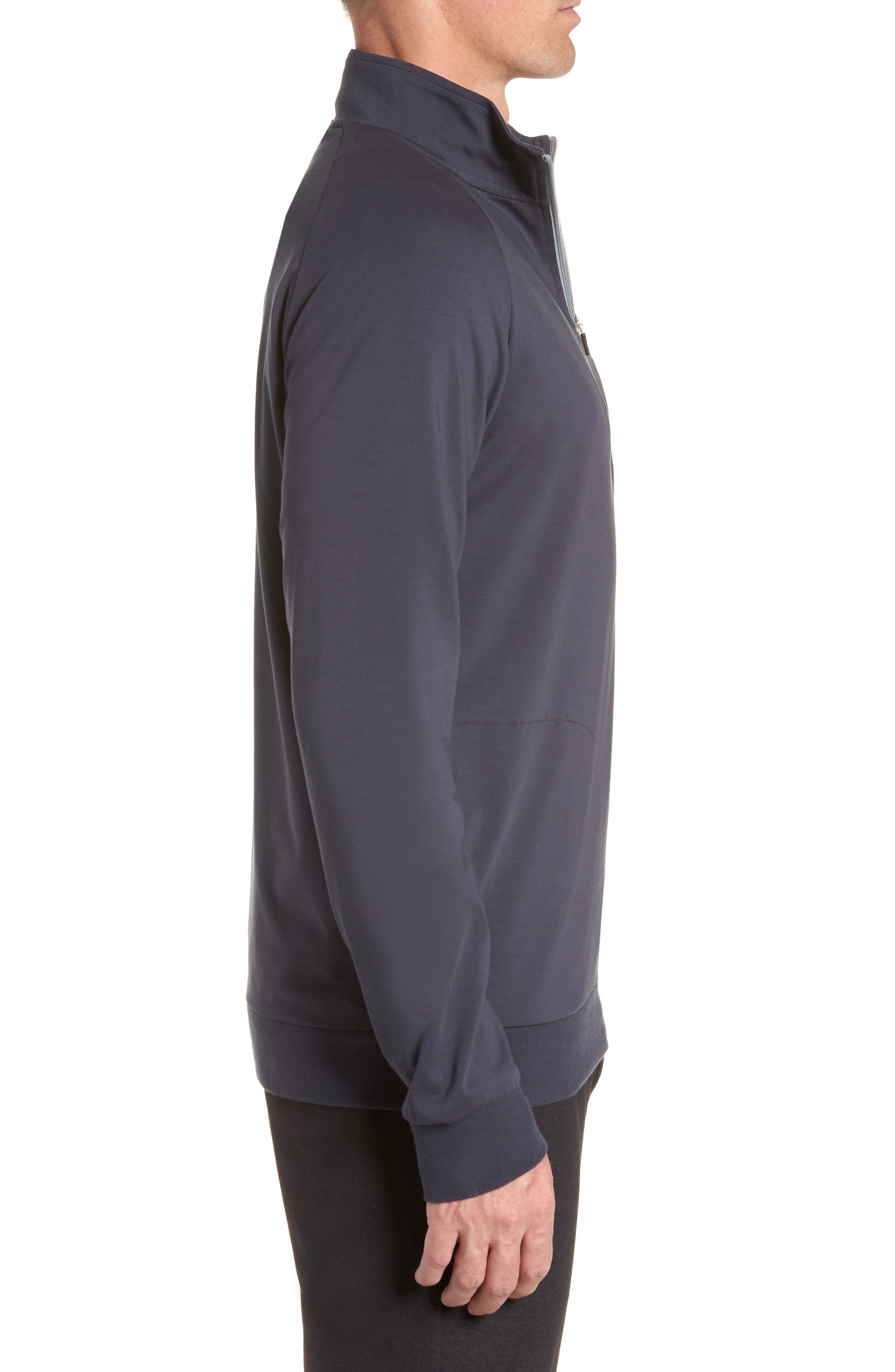 TRAVISMATHEW, 'Strange Love' Trim Fit Wrinkle Resistant Quarter Zip Jacket, Alternate thumbnail 3, color, BLUE NIGHTS