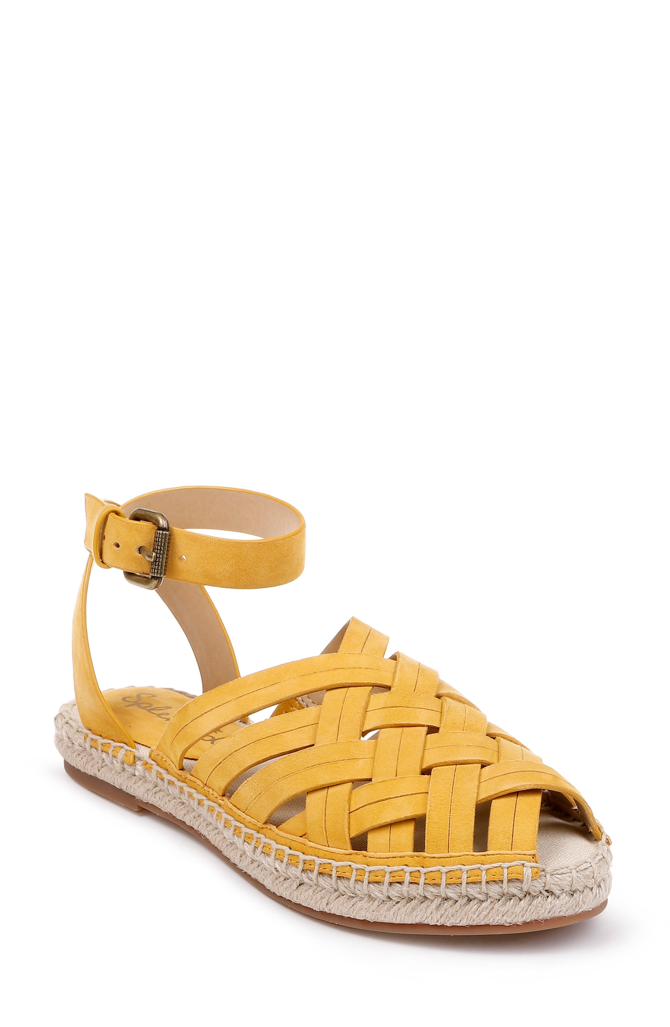 SPLENDID Sheryl Espadrille Ankle Strap Sandal, Main, color, YELLOW SUEDE