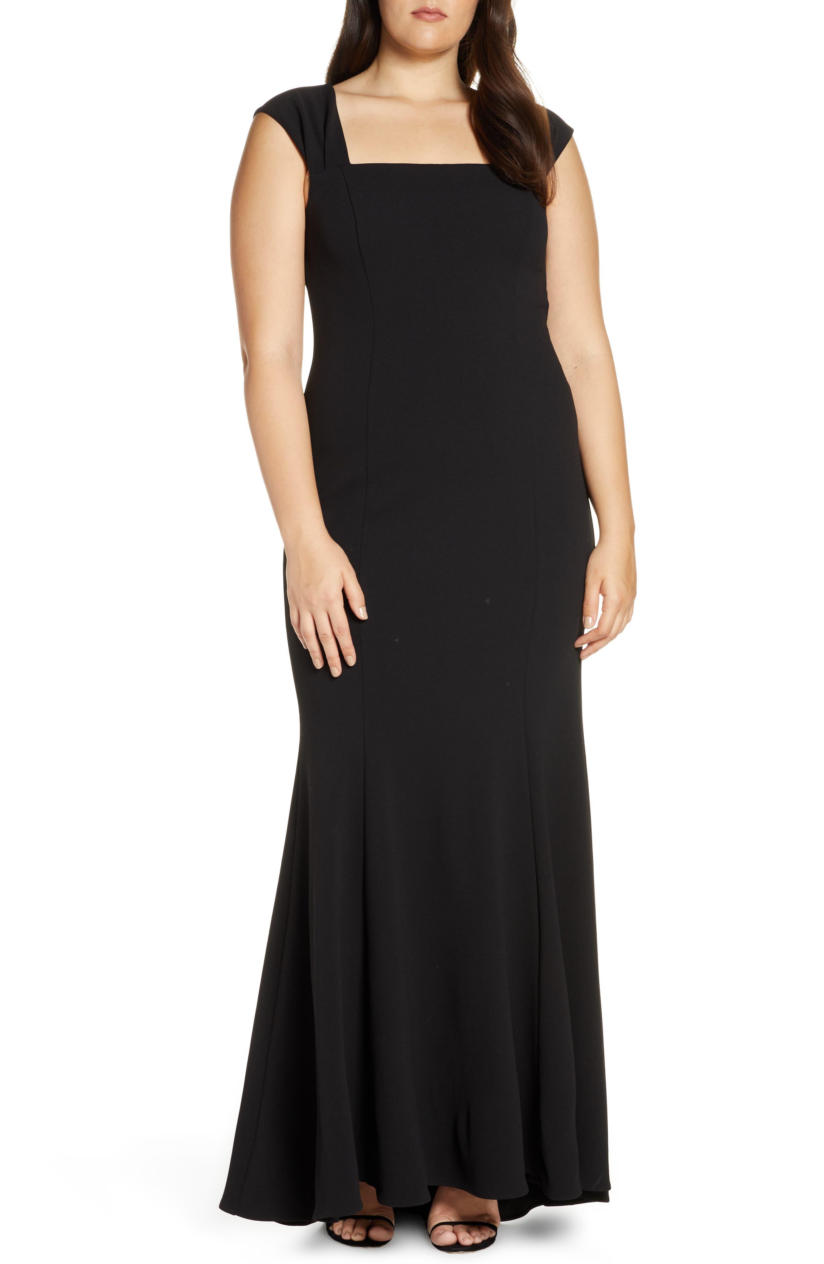 ELIZA J, Square Neck Scuba Crepe Evening Dress, Alternate thumbnail 2, color, BLACK