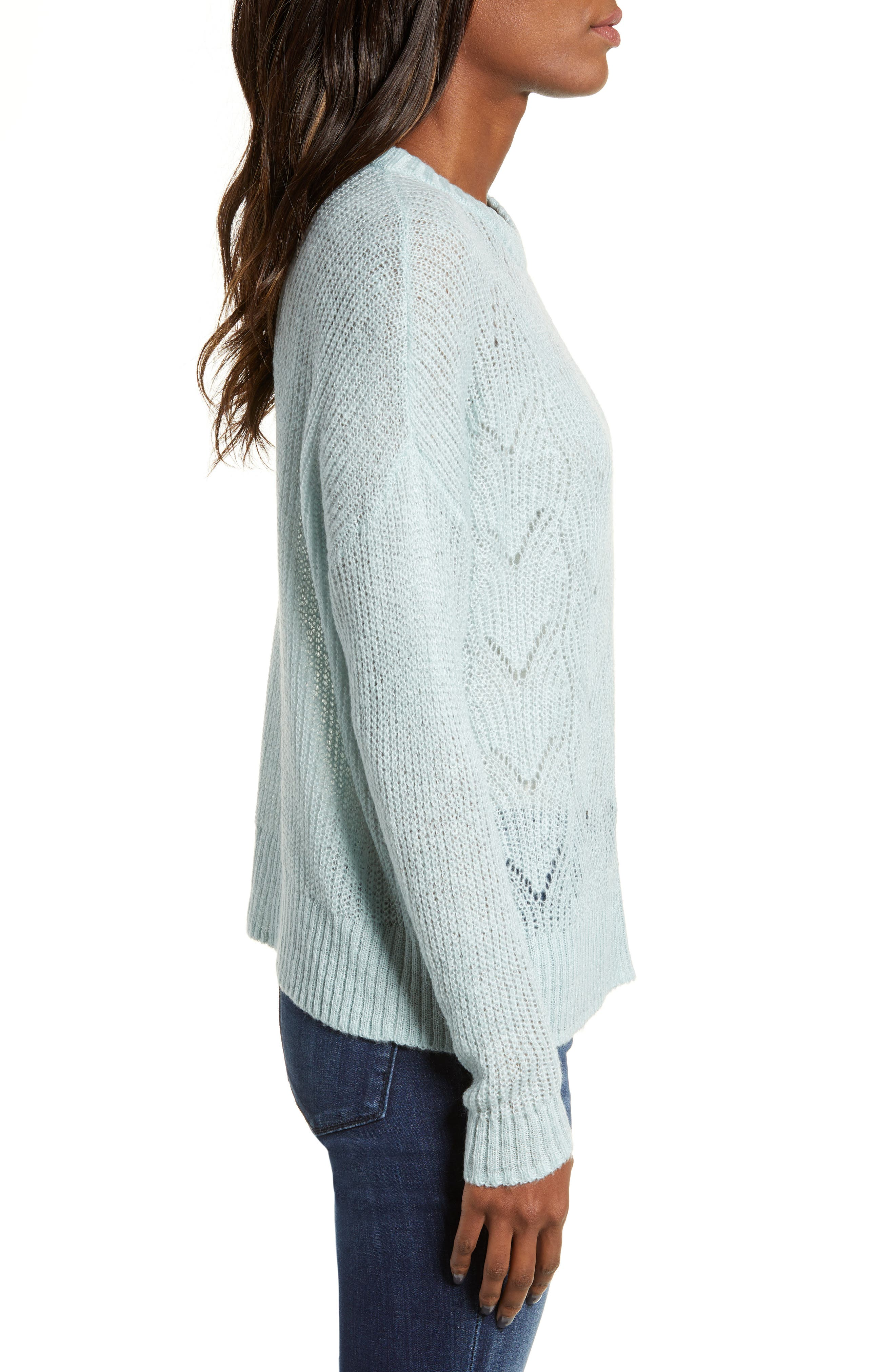 BP., Pointelle Stitch Sweater, Alternate thumbnail 4, color, BLUE CLOUD