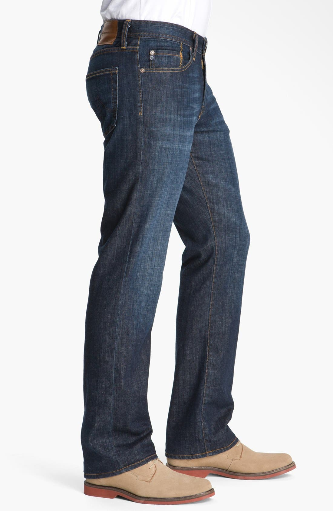 AG, Protégé Straight Leg Jeans, Alternate thumbnail 3, color, HUNTS WASH