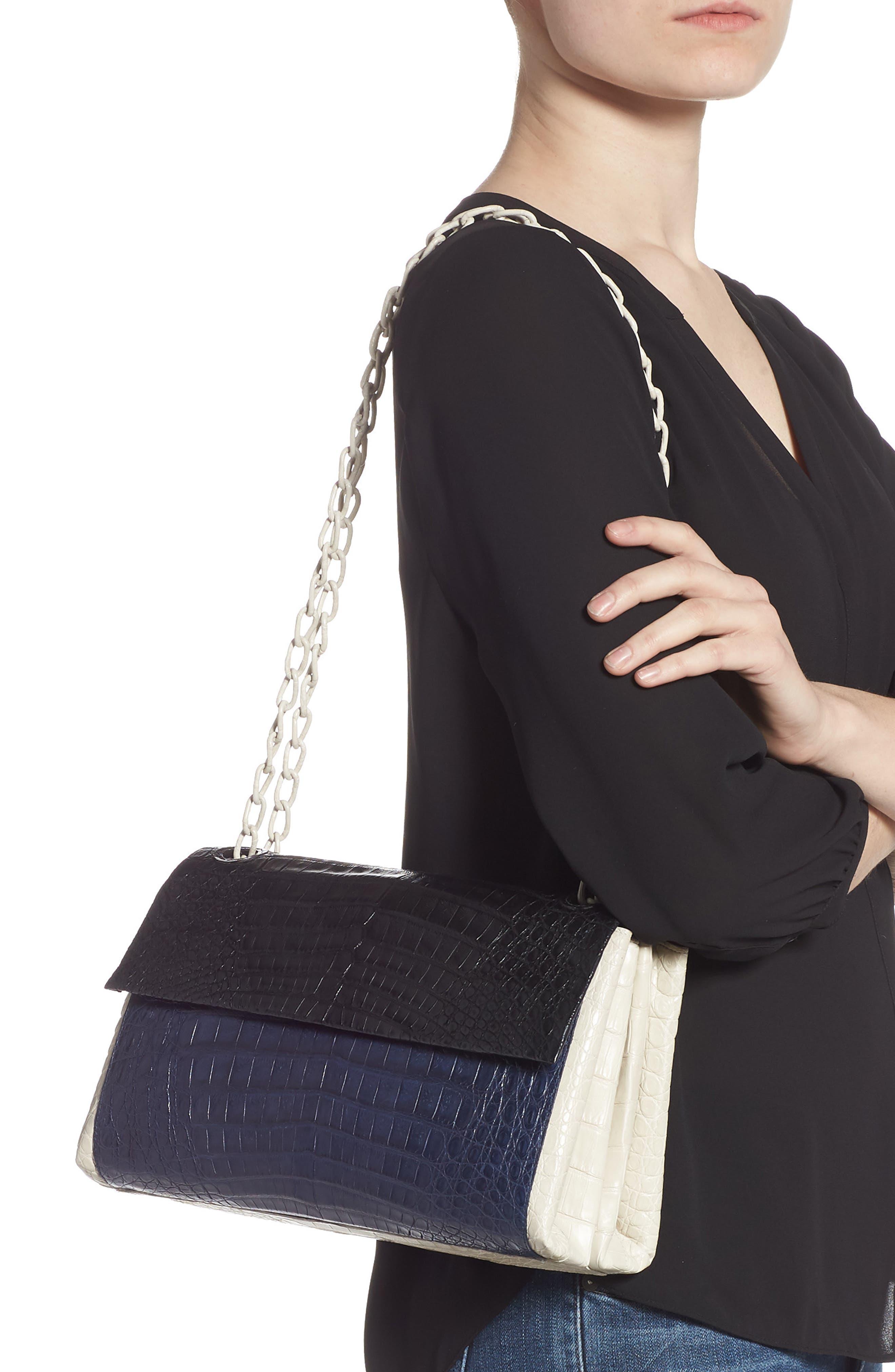 NANCY GONZALEZ, Medium Madison Genuine Crocodile Shoulder Bag, Alternate thumbnail 2, color, BLACK / NAVY/ LIGHT GREY