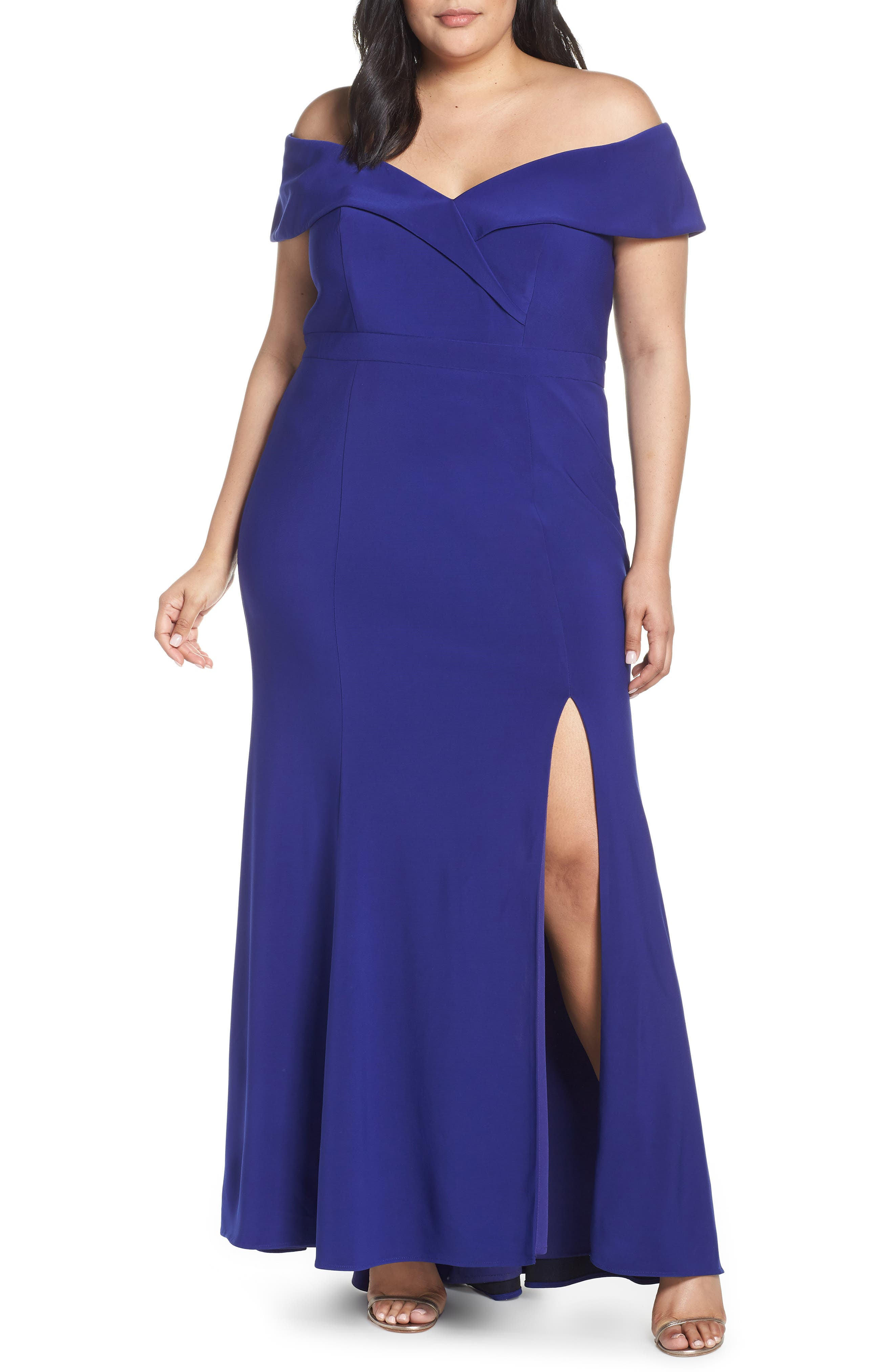 Plus Size Xscape Off The Shoulder Evening Dress, Blue