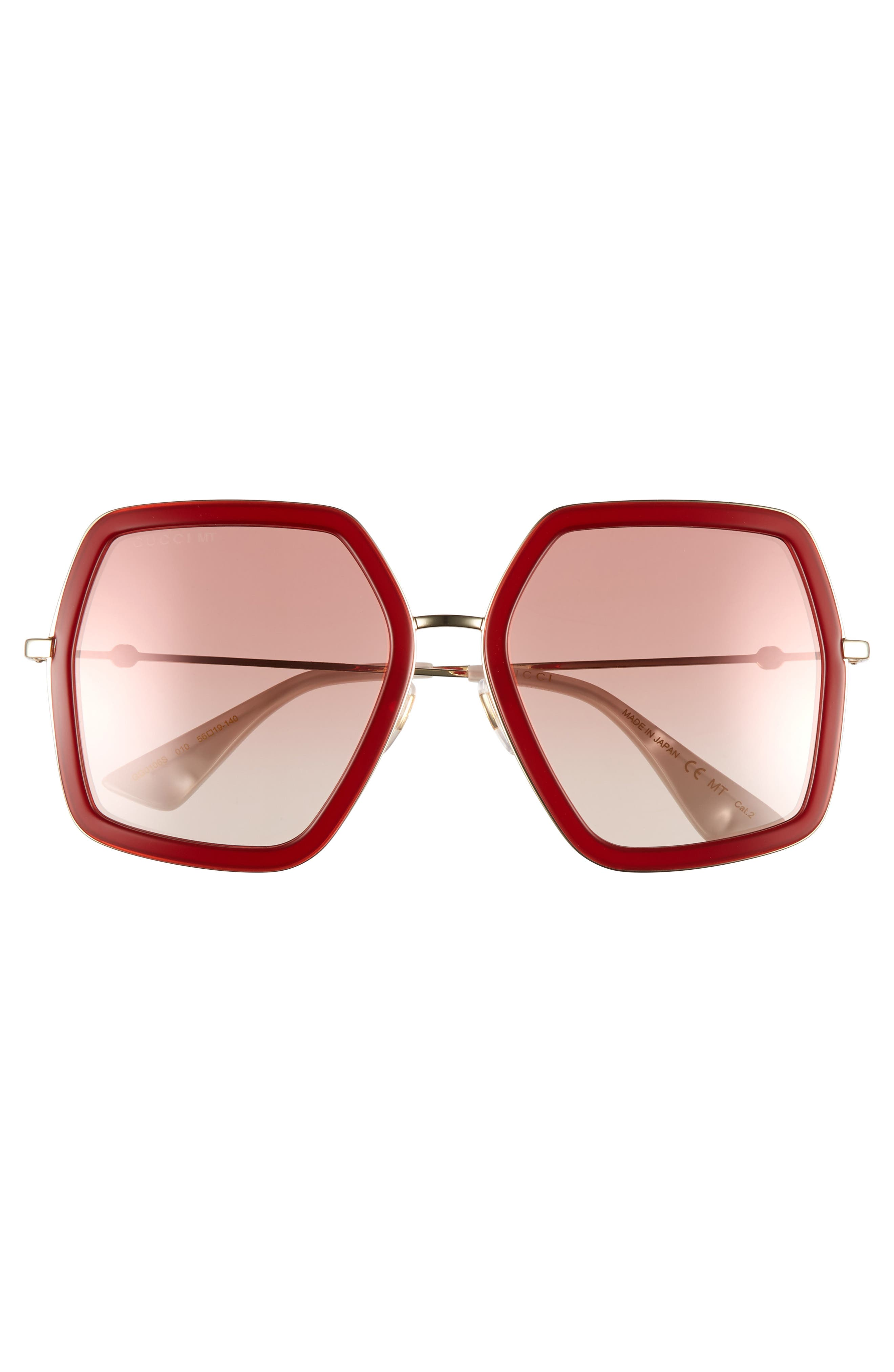 GUCCI, 56mm Sunglasses, Alternate thumbnail 3, color, SHINY ENDURA GLD/PK GRAD MIR