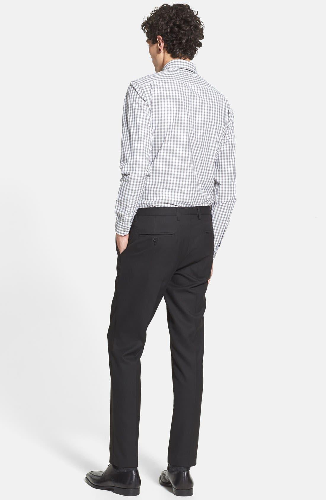 TOPMAN, Skinny Fit Cotton Flannel Trousers, Alternate thumbnail 2, color, 001