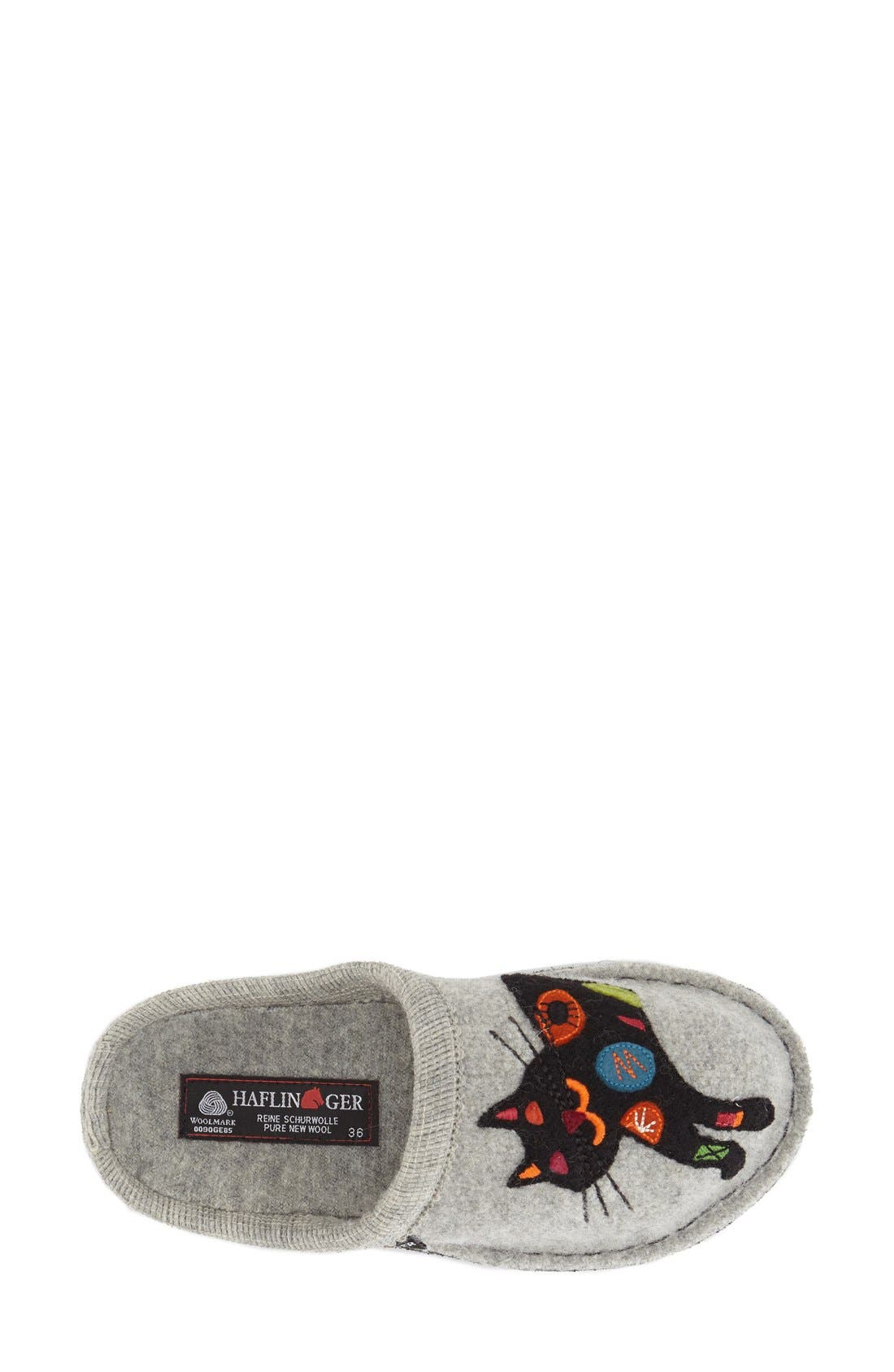 HAFLINGER, 'Cat' Slipper, Alternate thumbnail 2, color, GREY WOOL