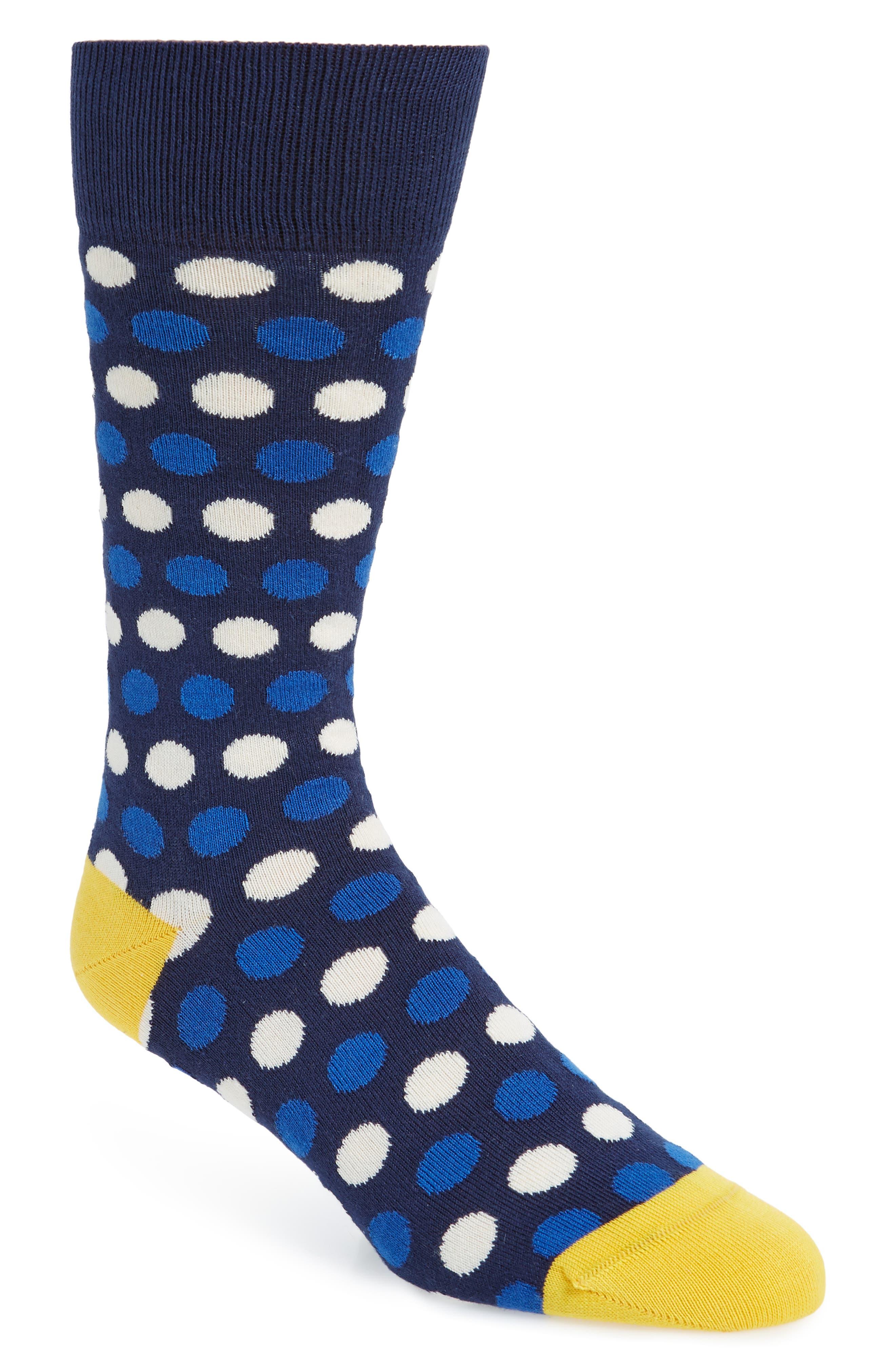 PAUL SMITH Dot Stripe Socks, Main, color, NAVY