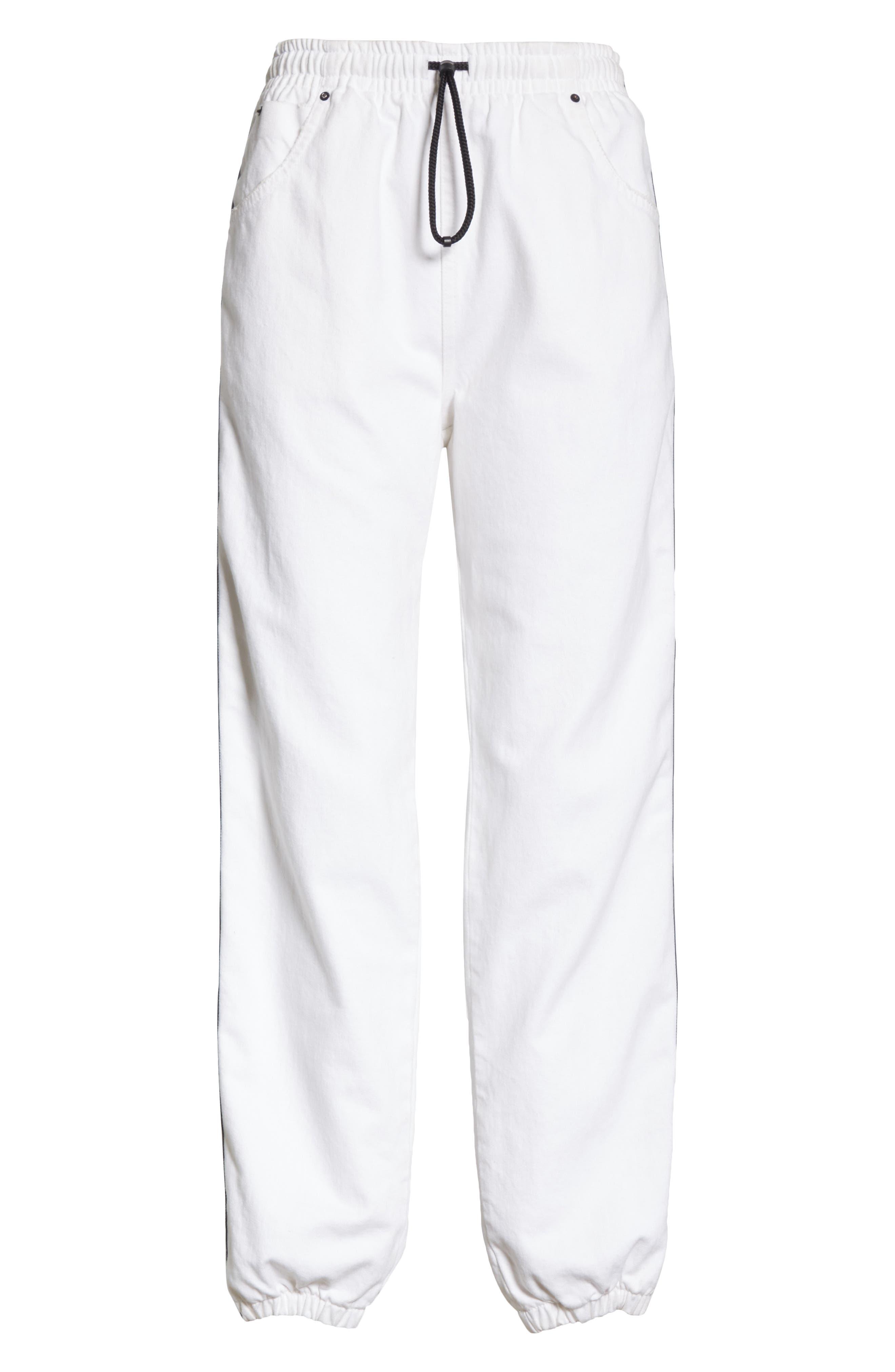 ALEXANDERWANG.T, Logo Stripe Track Pants, Alternate thumbnail 7, color, OPTIC WHITE