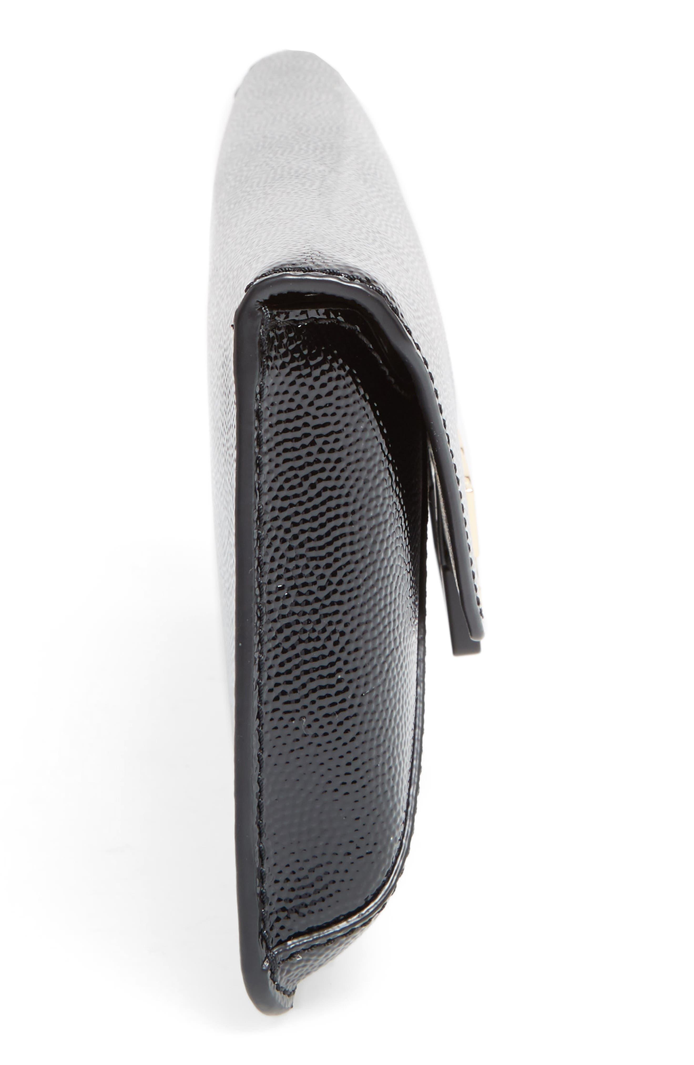 TORY BURCH, Gigi Caviar Leather Clutch, Alternate thumbnail 4, color, 001