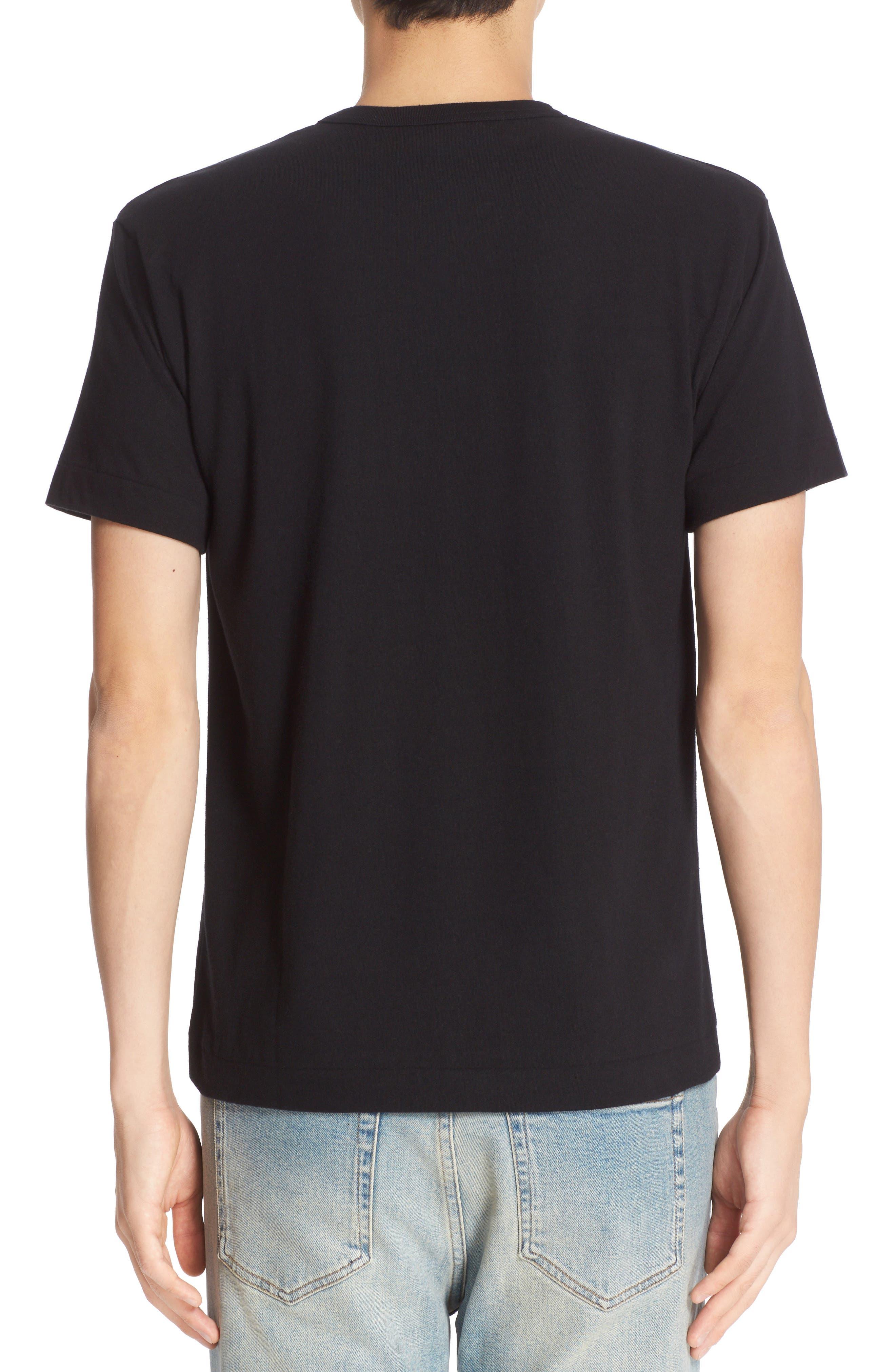 COMME DES GARÇONS PLAY, Twin Hearts Jersey T-Shirt, Alternate thumbnail 2, color, BLACK