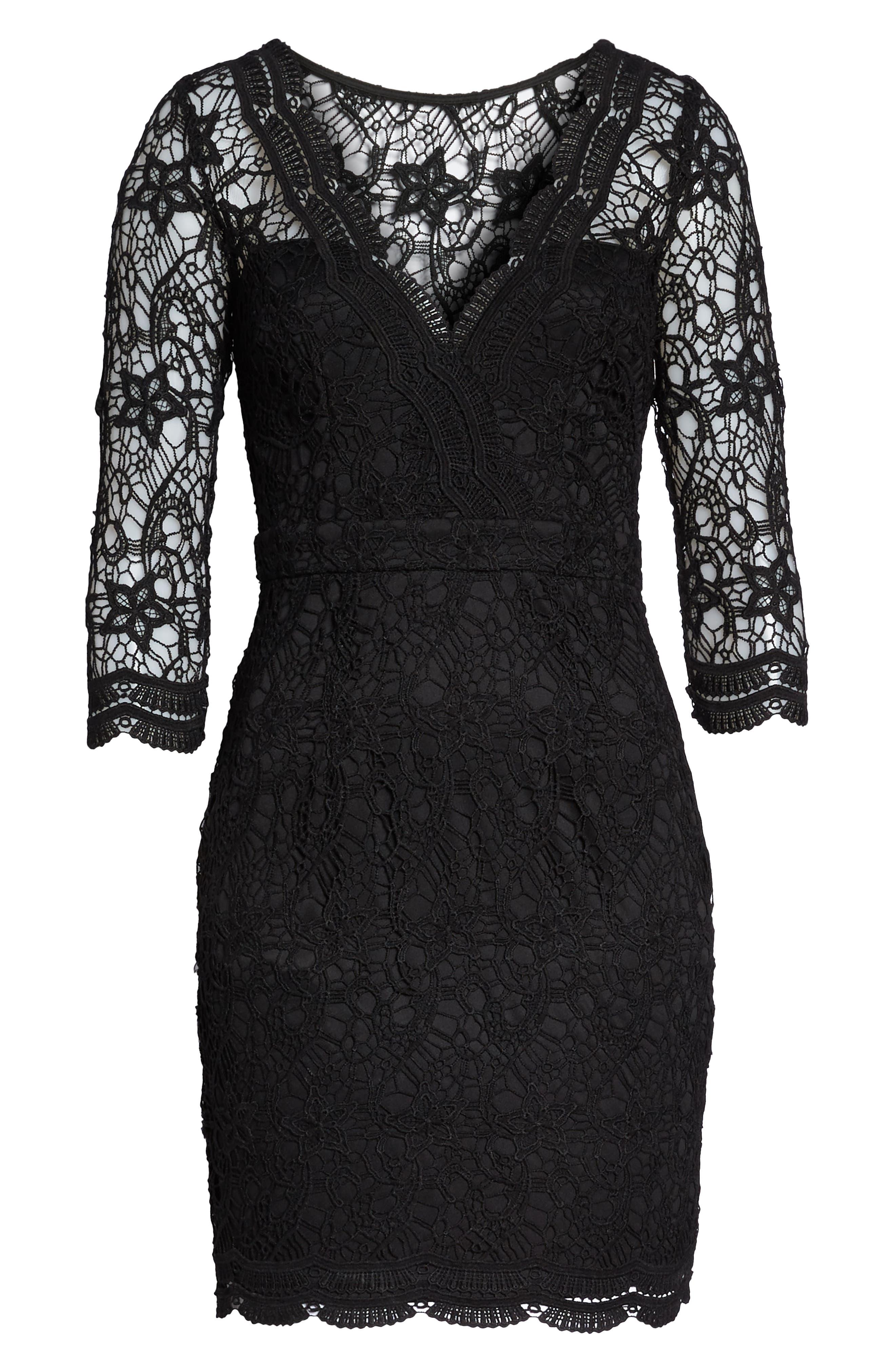 LULUS, Lace Cocktail Dress, Alternate thumbnail 7, color, BLACK