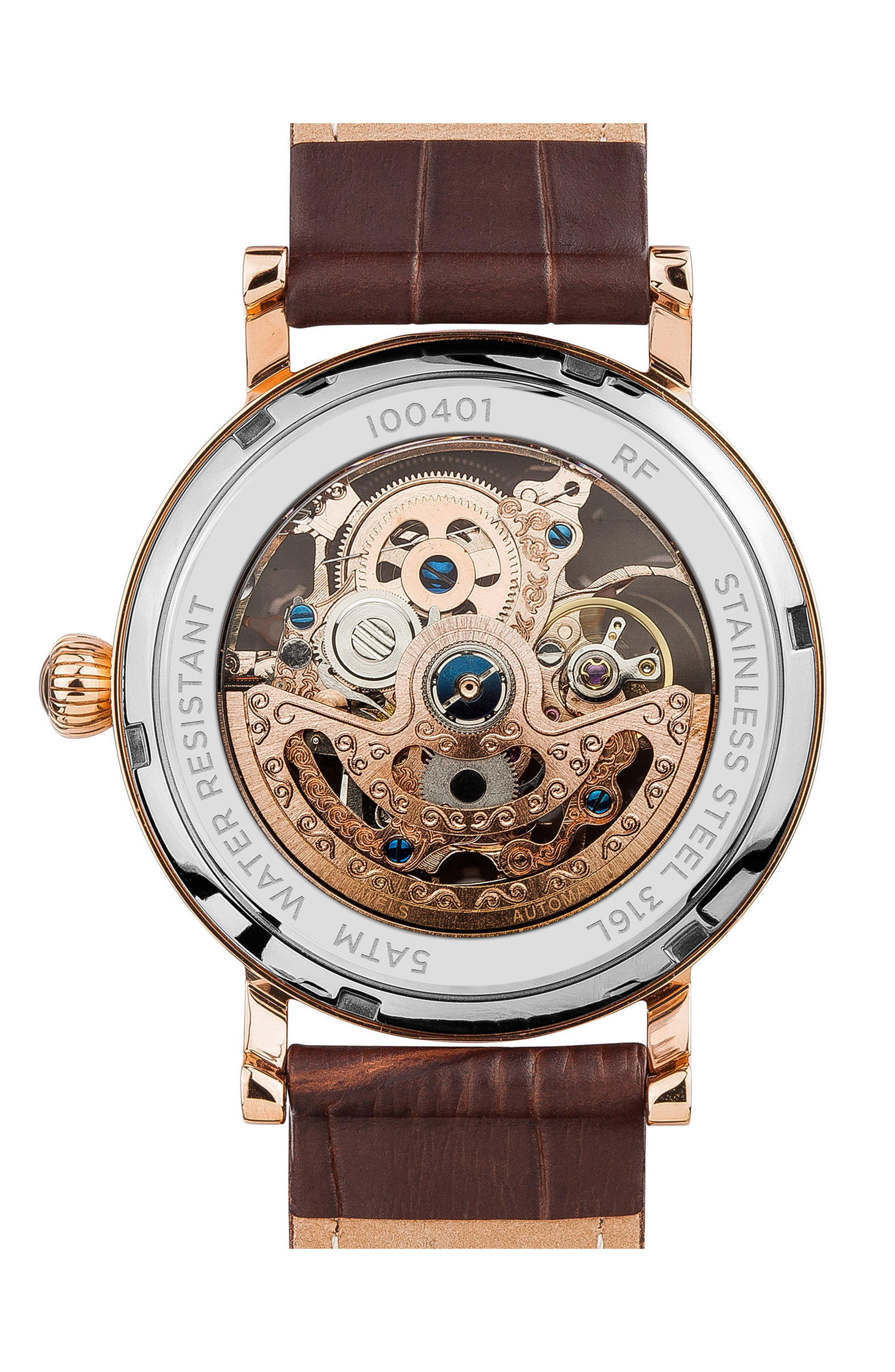 INGERSOLL WATCHES, Ingersoll Herald Automatic Skeleton Leather Strap Watch, 40mm, Alternate thumbnail 2, color, BROWN/ SKELETON/ ROSE GOLD