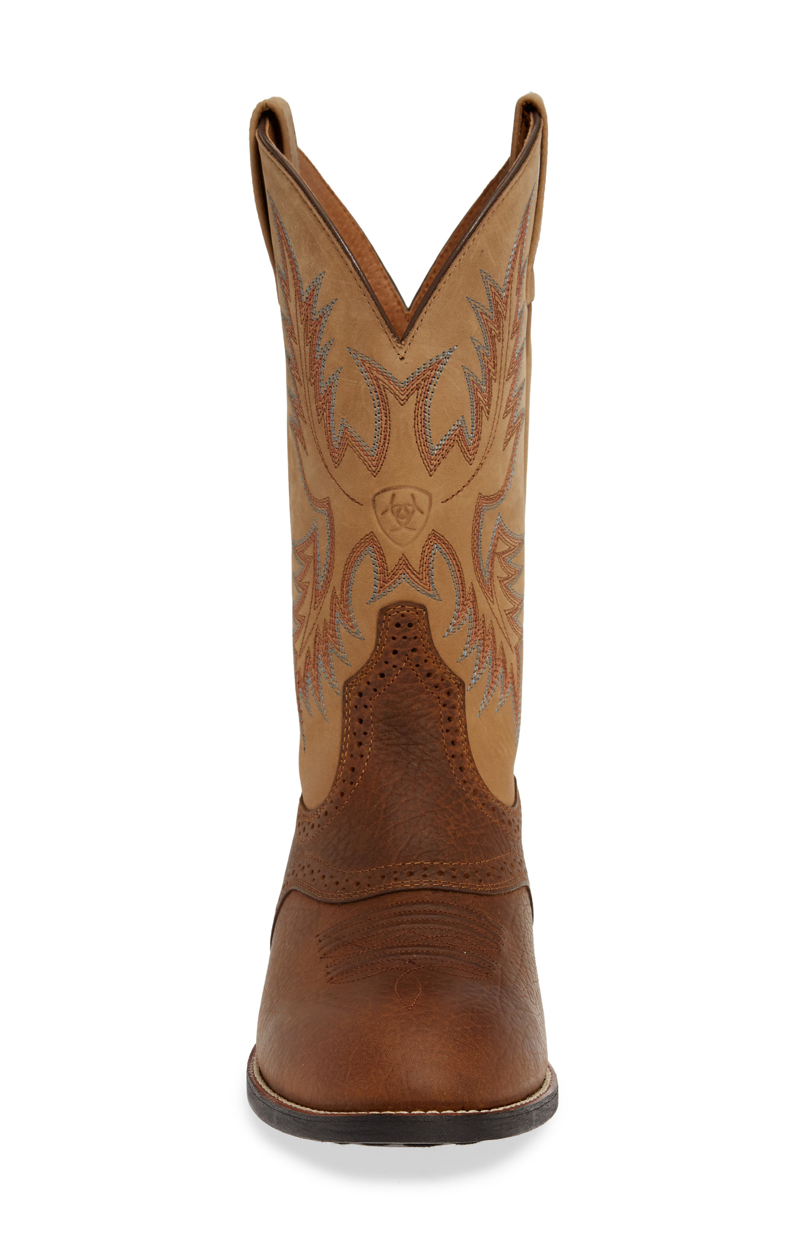 ARIAT, Heritage Stockman Cowboy Boot, Alternate thumbnail 4, color, BROWN/ BEIGE LEATHER