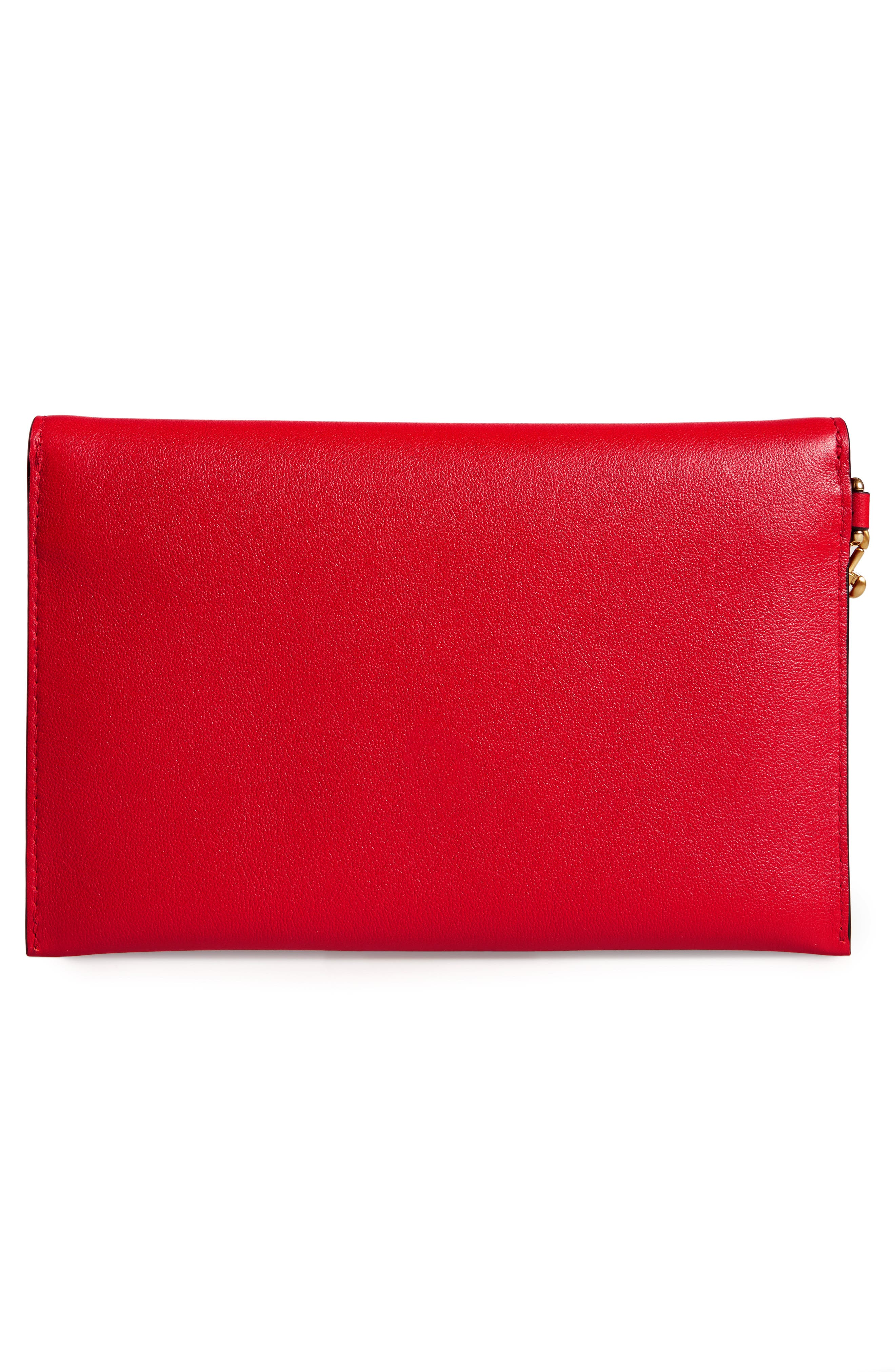 MOSCHINO, Bear Faux Leather Wristlet, Alternate thumbnail 3, color, RED