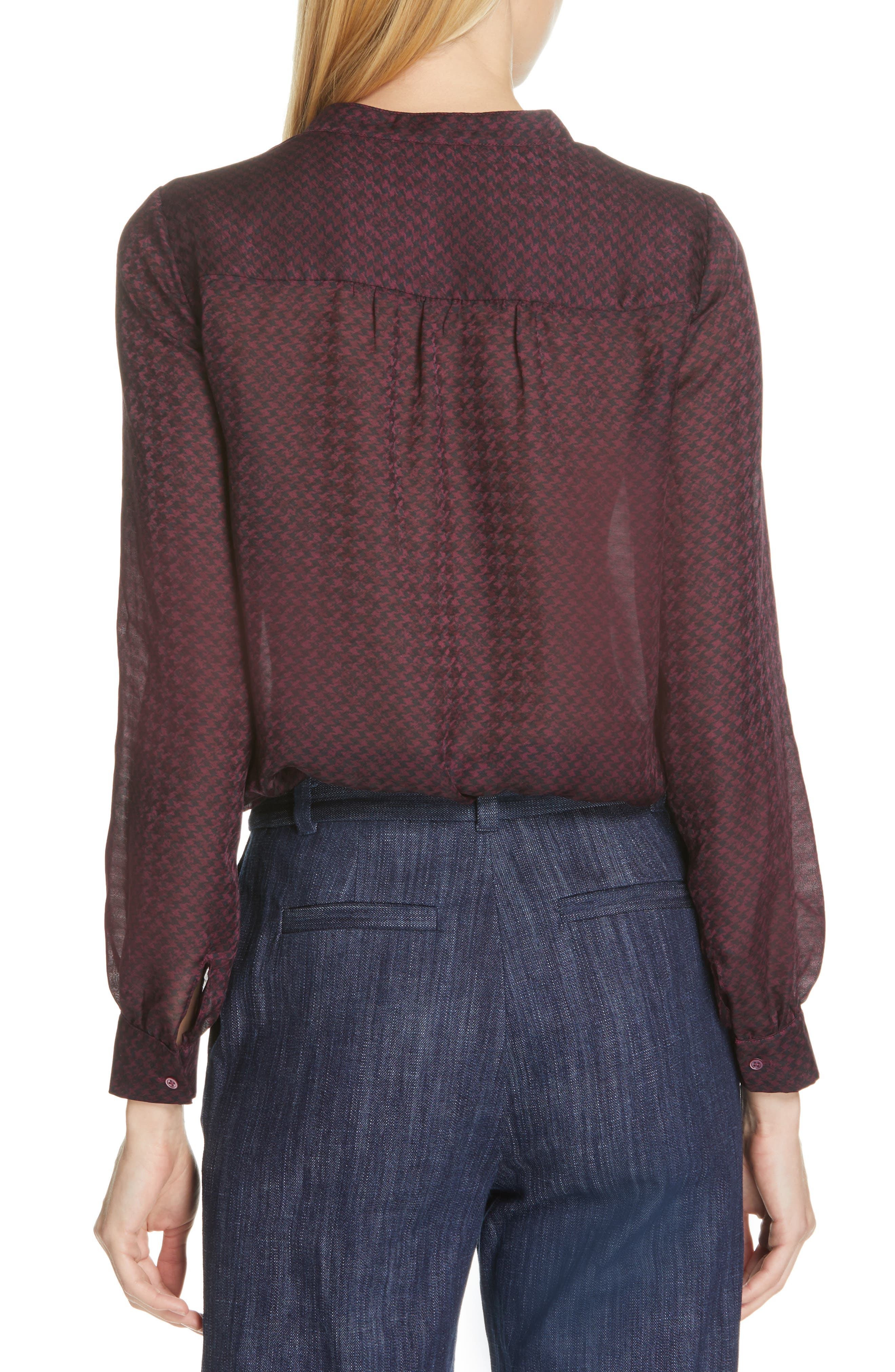 JOIE, Mintee Houndstooth Check Blouse, Alternate thumbnail 2, color, 501